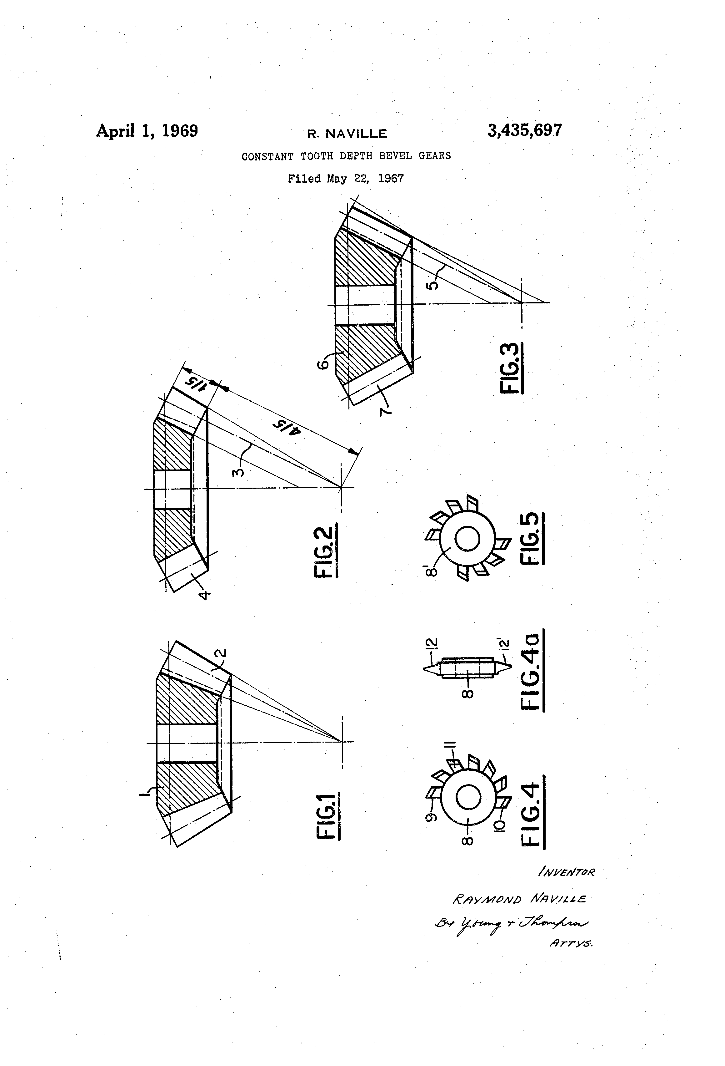 Patente us3435697 constant tooth depth bevel gears patentes do patent drawing ccuart Gallery