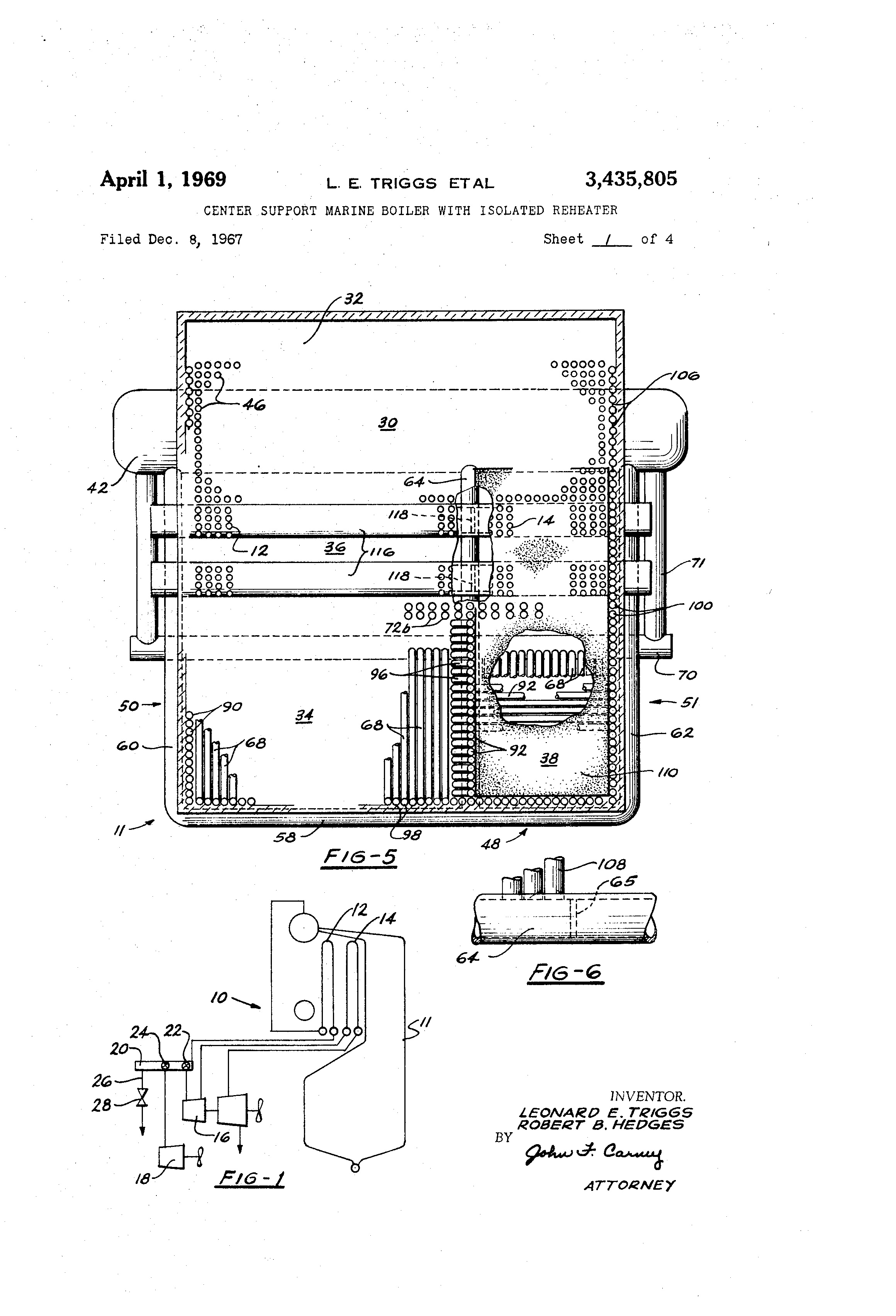 Patent US Center support marine boiler with isolated