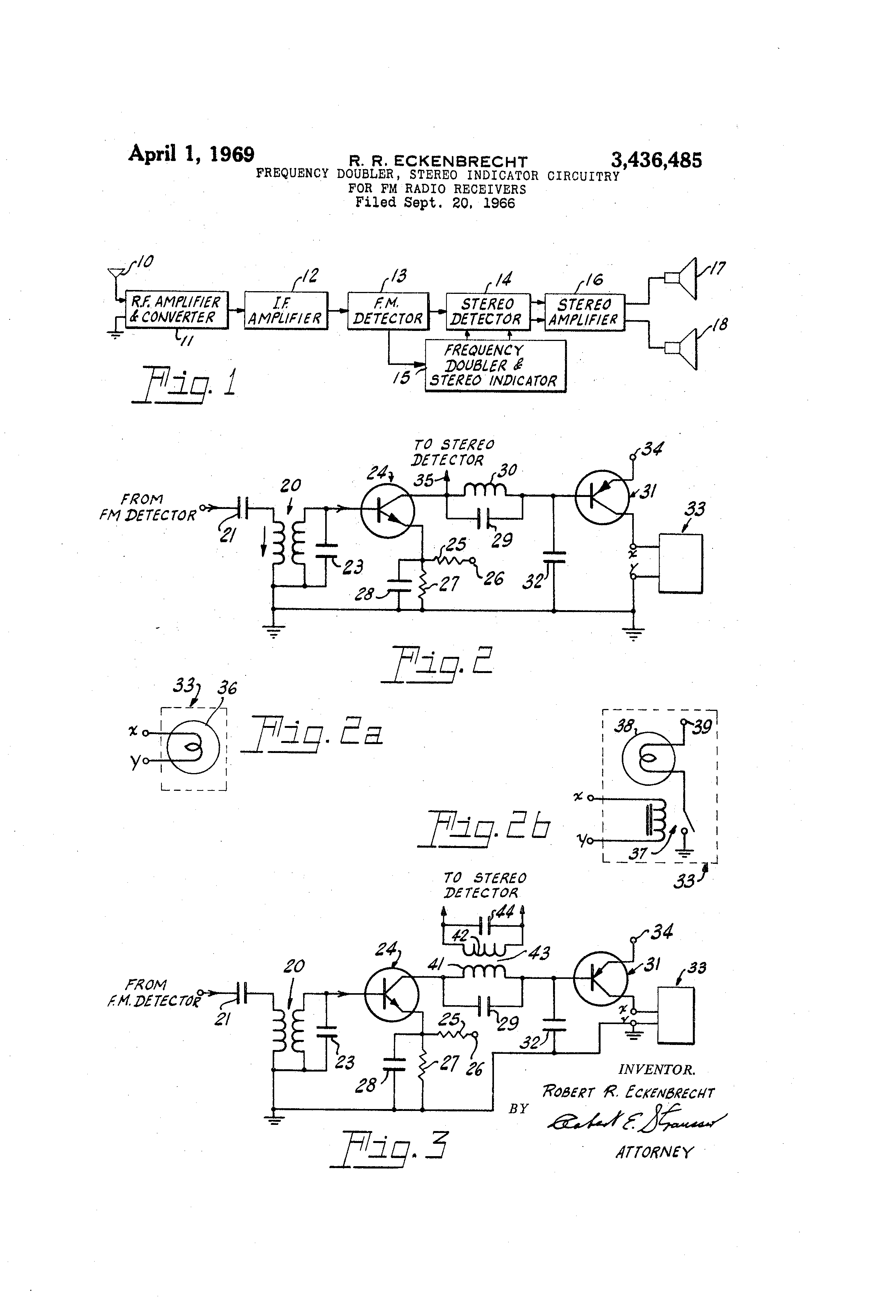 Patent Us3436485 Frequency Doublerstereo Indicator Circuitry For Simple Fm Demodulator Circuit Diagram Electronic Diagrams Drawing