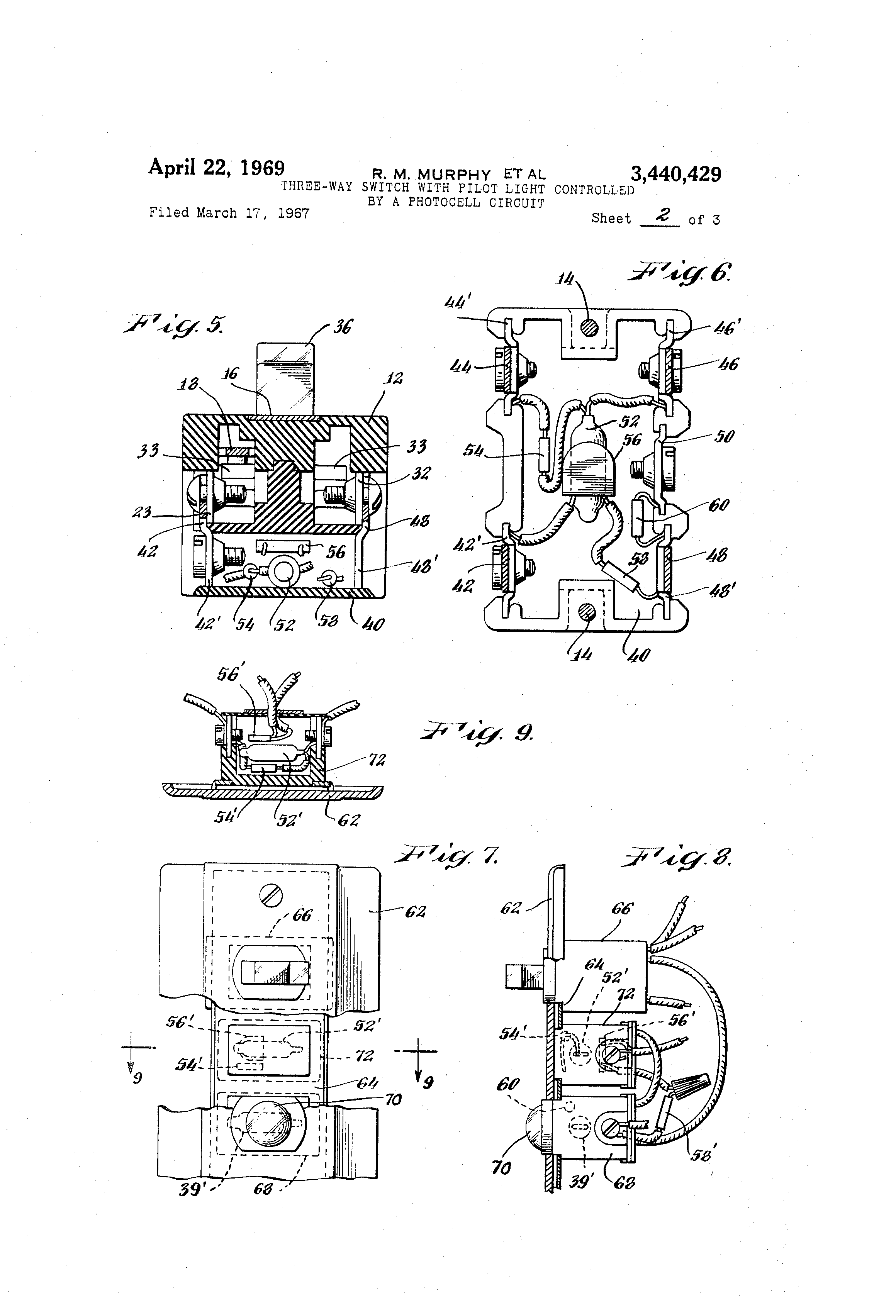 Patent Us3440429 Three Way Switch With Pilot Light Controlled By A Photocell Electronic Design Drawing