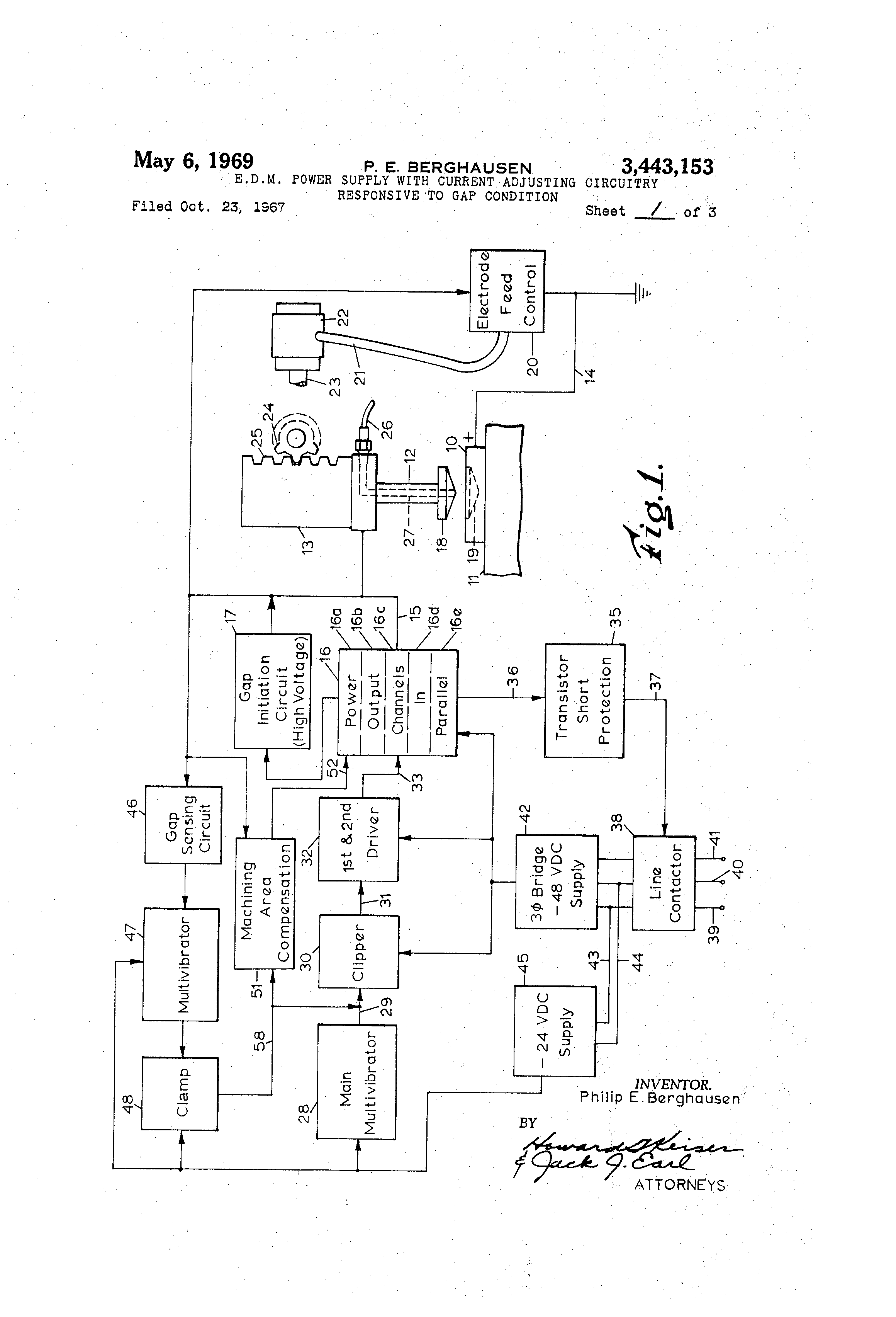 Patent Us3443153 Edm Power Supply With Current Adjusting Circuits Gt 6 12 Volt Adjustable Circuit Schematic Drawing