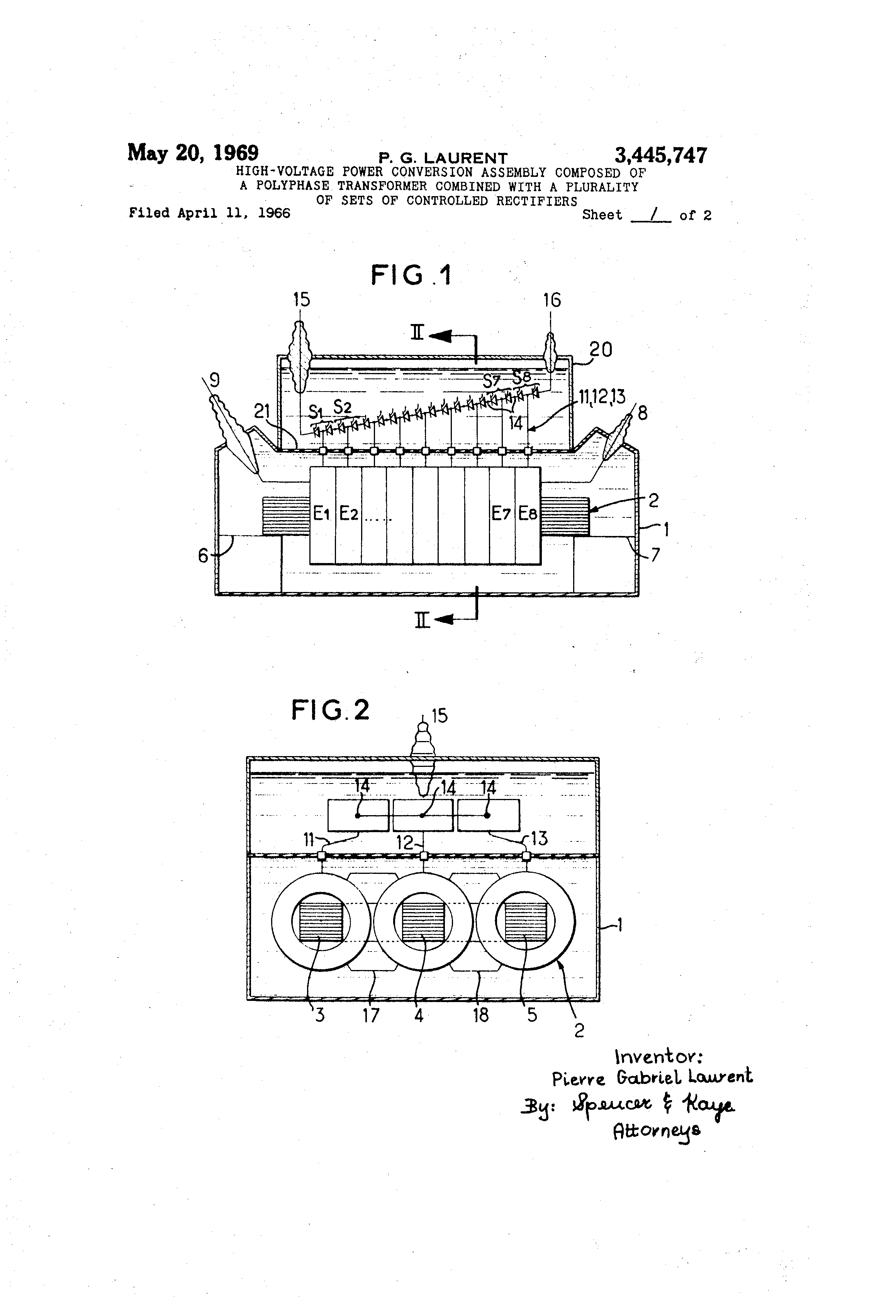 Patent Us3445747 High Voltage Power Conversion Assembly Composed Of A Sixphase Star Rectifier Circuit This Drawing