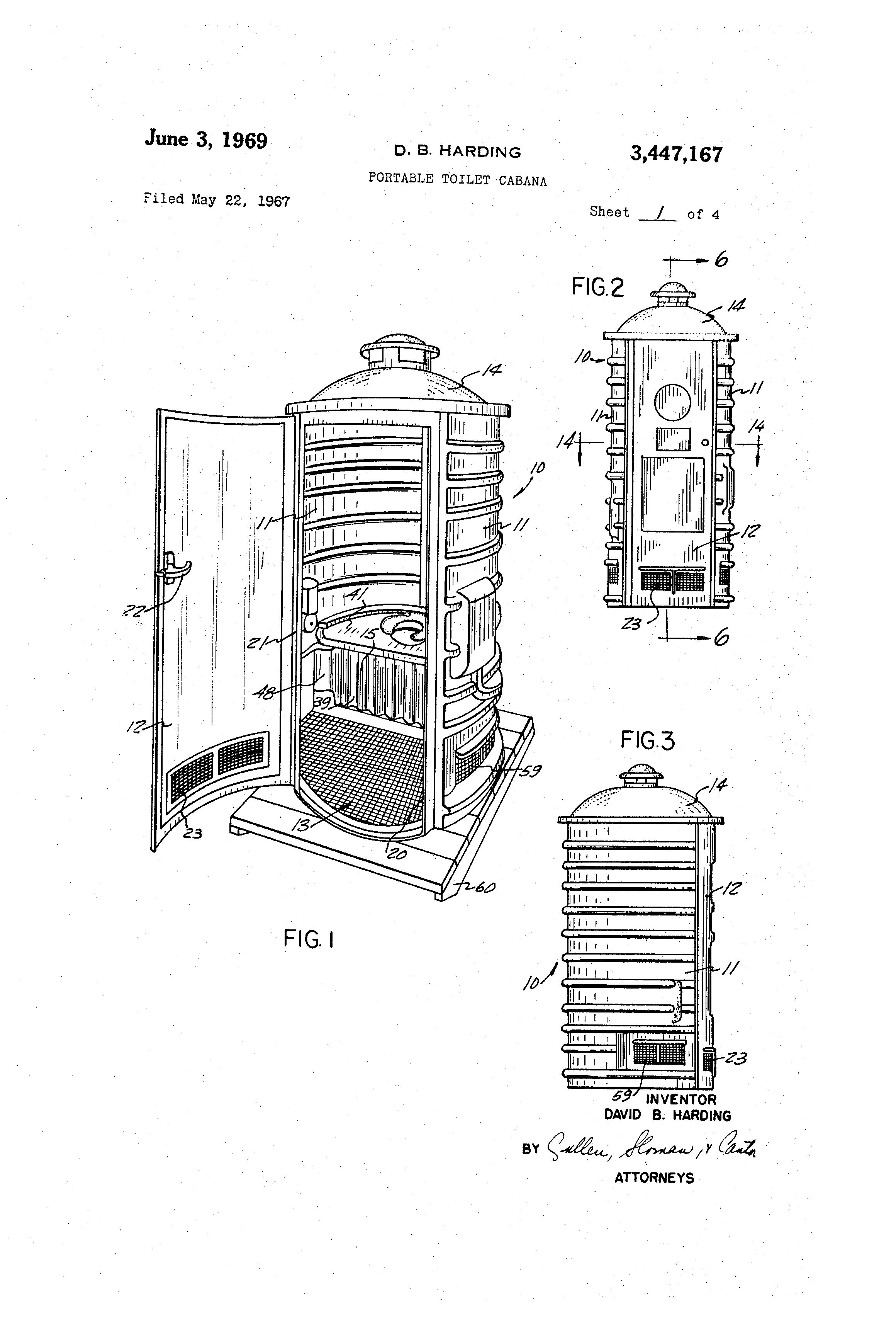 Patent Us3447167 Portable Toilet Cabana Google Patents