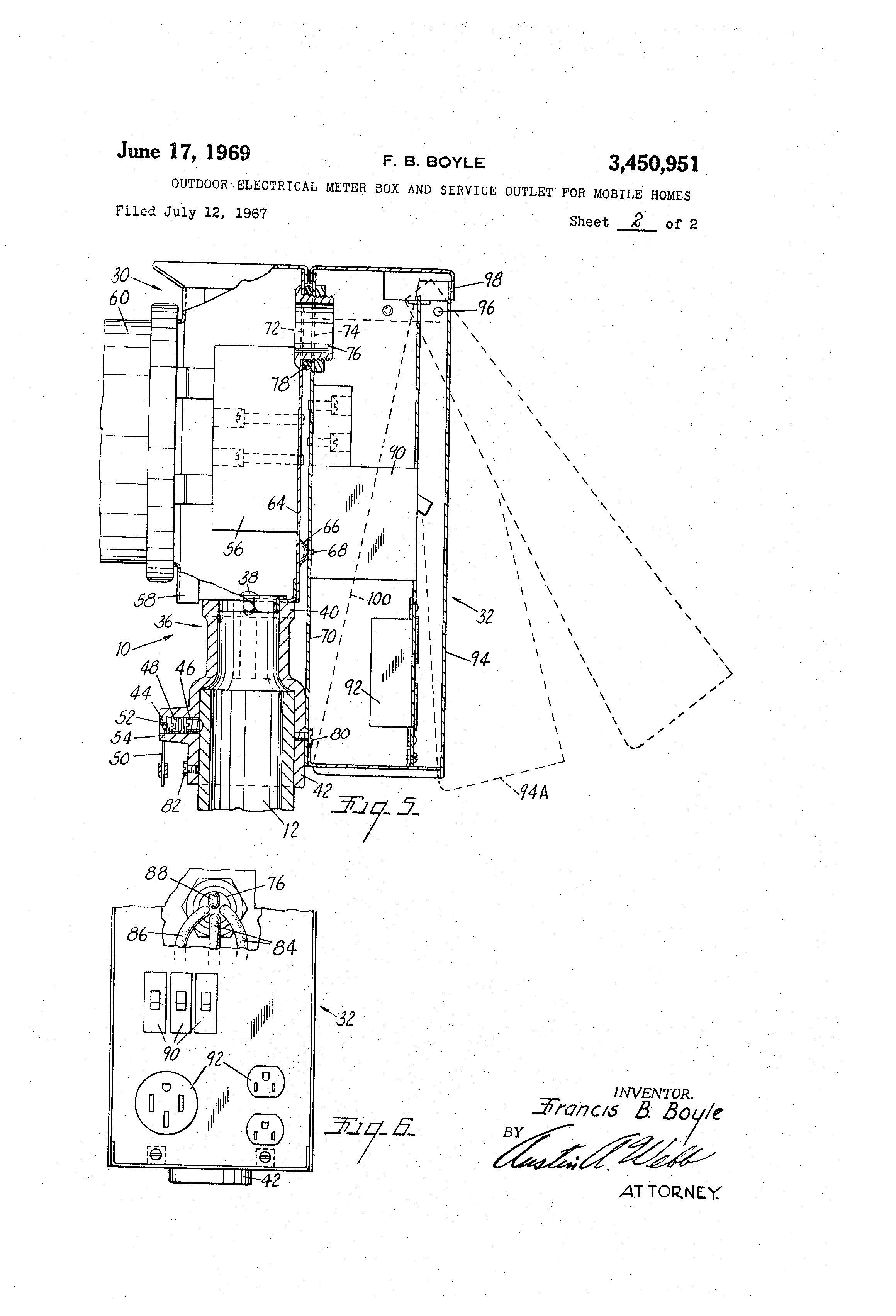 patent us3450951 outdoor electrical meter box and service outlet for mobile homes patents