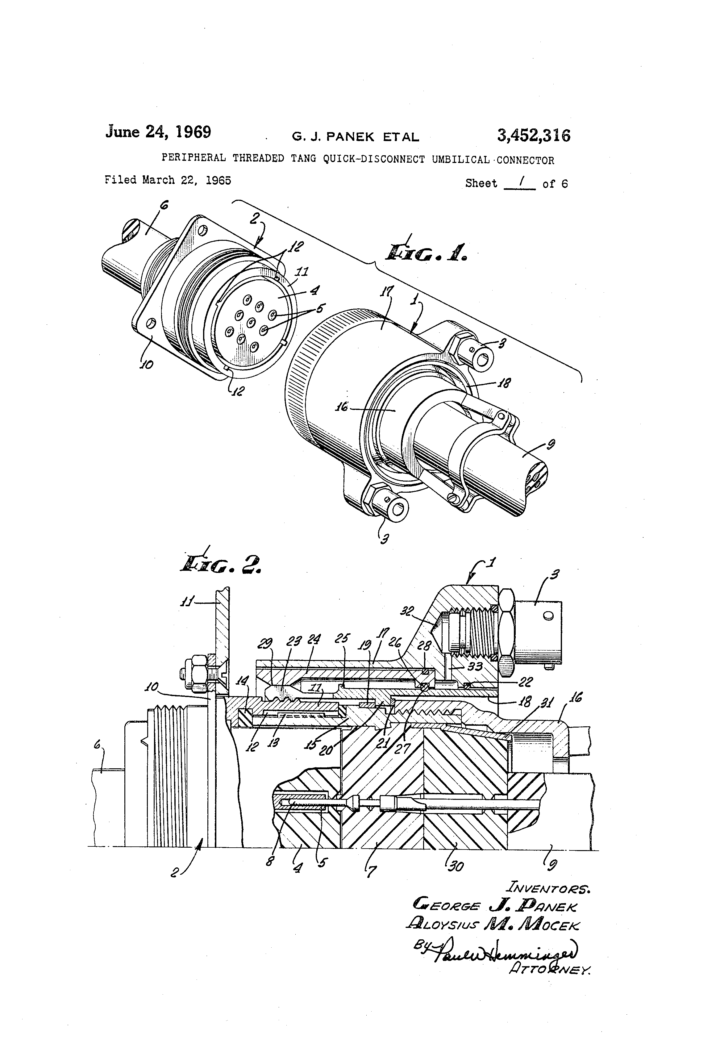 patent us3452316 - peripheral threaded tang quick-disconnect umbilical connector