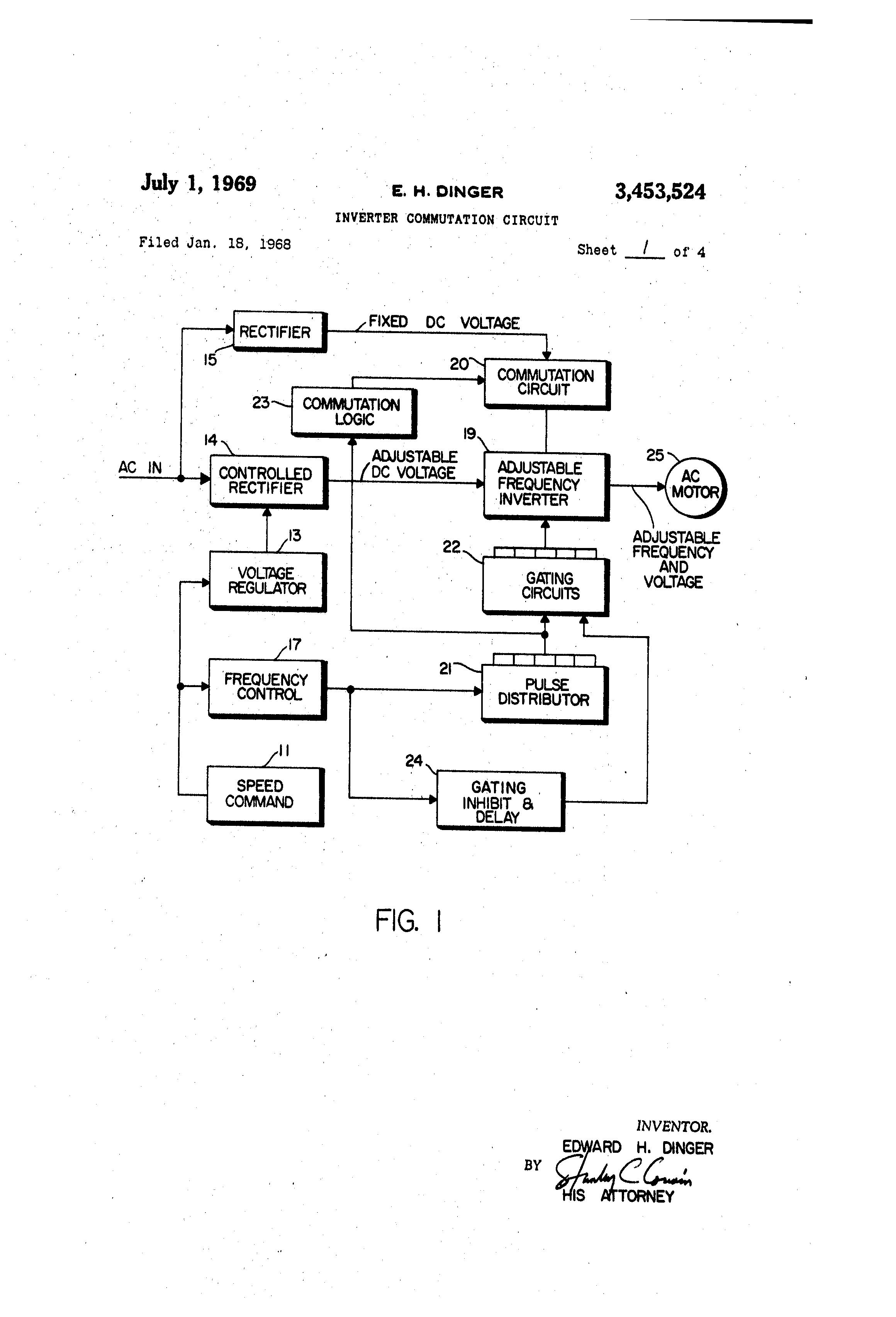 Patent Us3453524 Inverter Commutation Circuit Google Patents Oscillators Gt Sine Wave Pure Schematic Diagram Drawing
