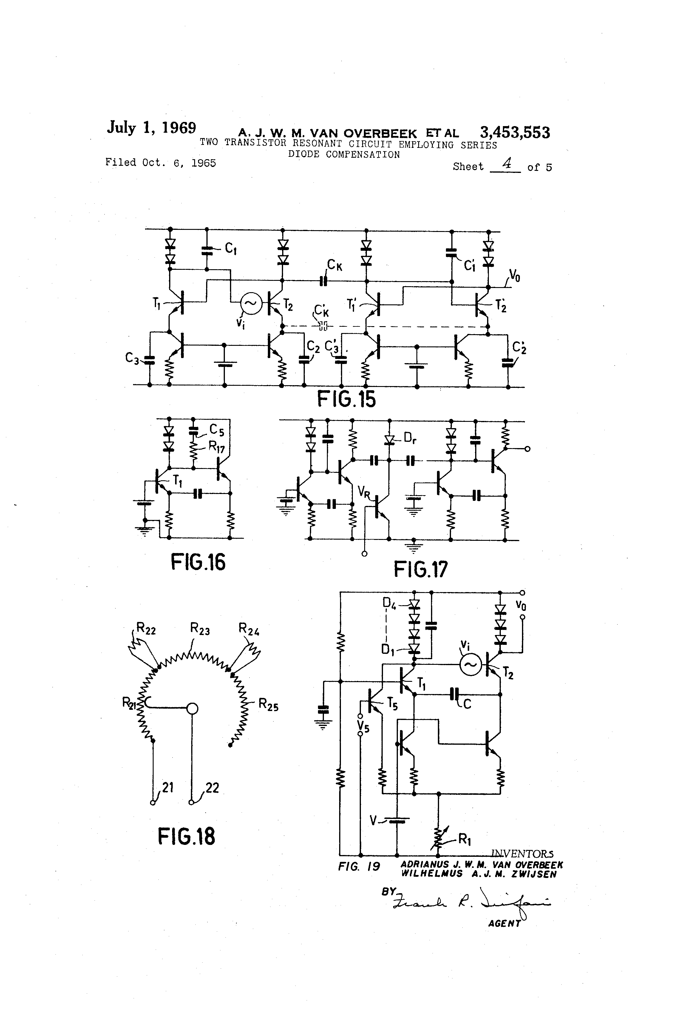 patent us3453553 - two transistor resonant circuit employing series diode compensation