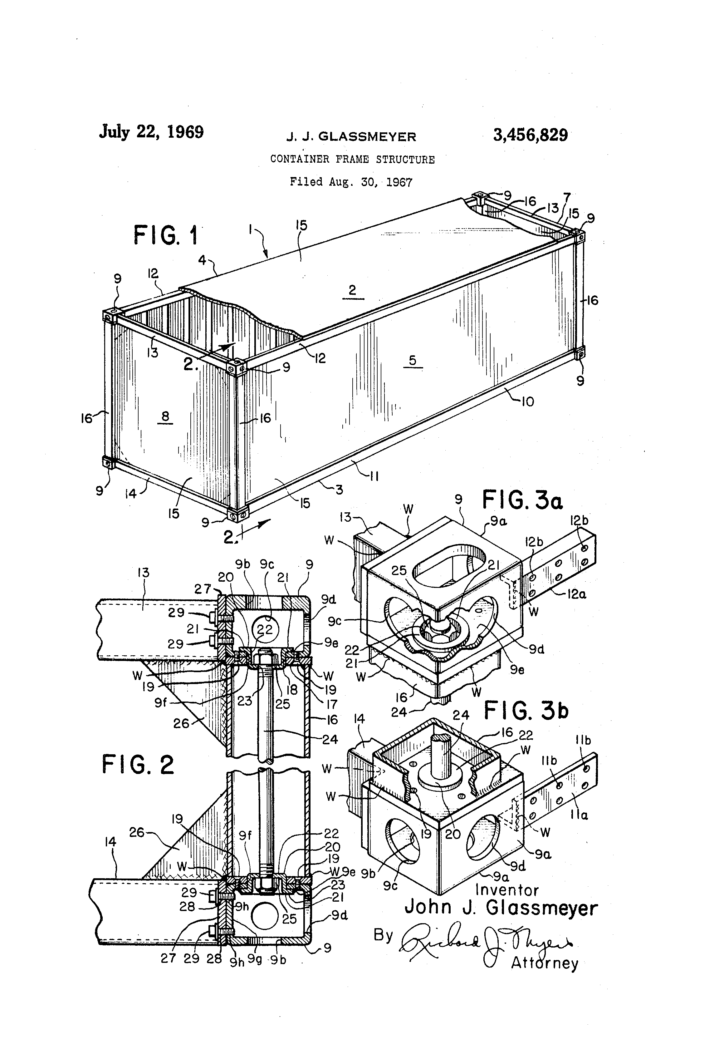 Patent us3456829 container frame structure google patents for Structure container maritime
