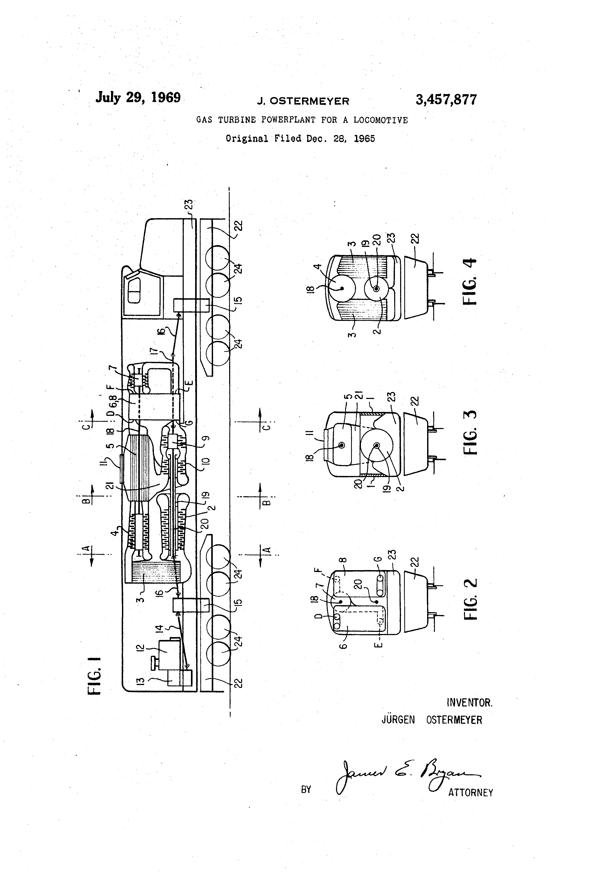 Patent US Gas turbine powerplant for a lo otive