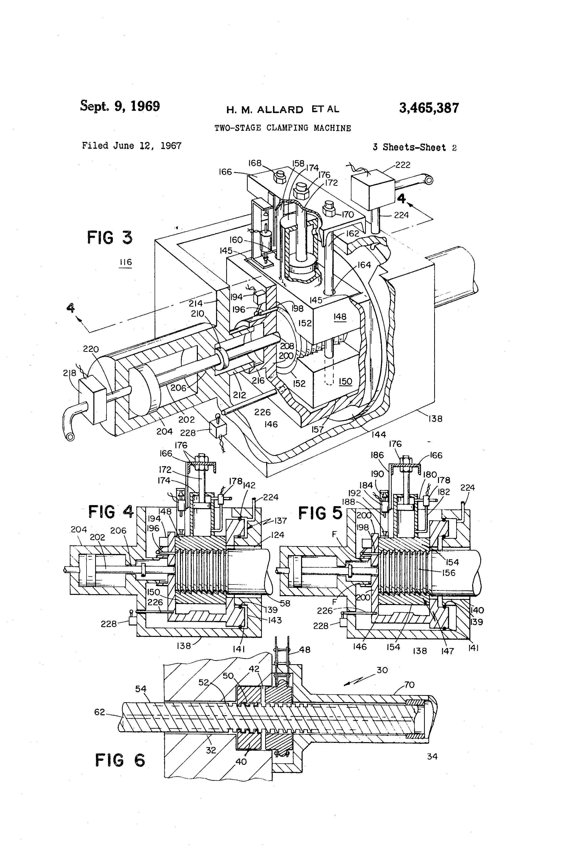 patent us3465387 - two-stage clamping machine