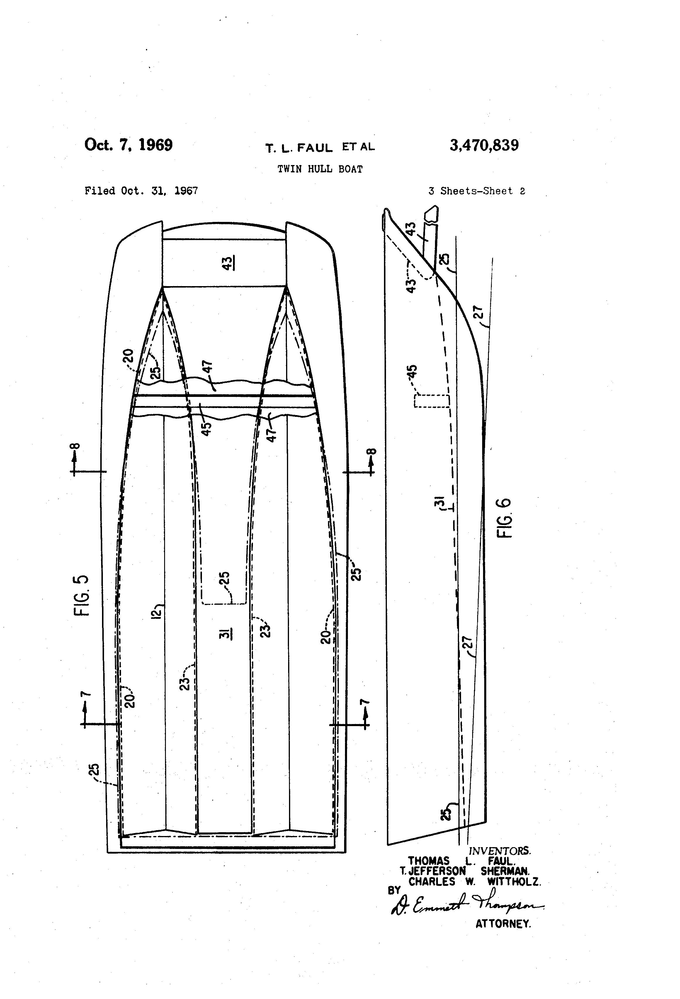 patent us3470839 - twin hull boat