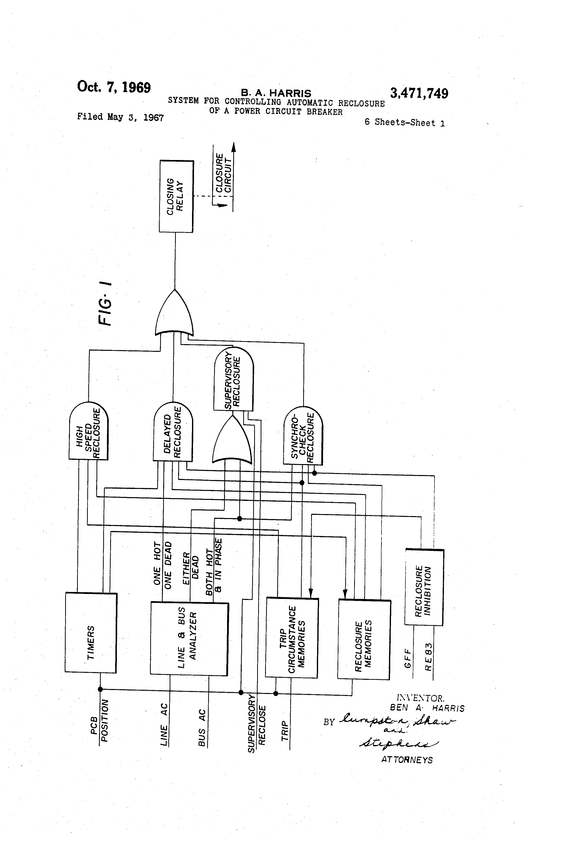 Patent Us3471749 System For Controlling Automatic Reclosure Of A Flip Flop Relay Circuit Schematic Drawing