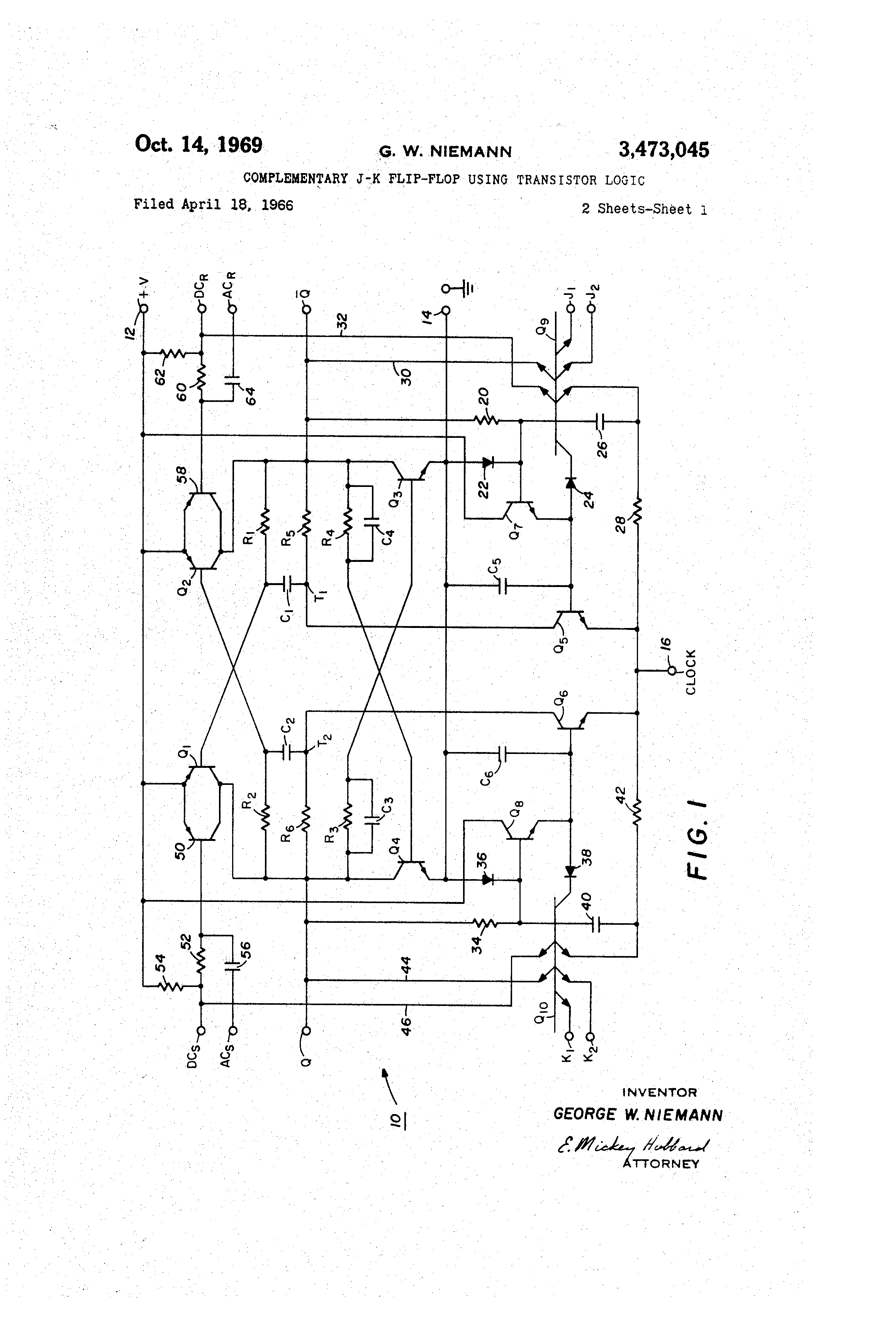 Patent Us3473045 Complementary J K Flip Flop Using Transistor Circuit Diagram Drawing