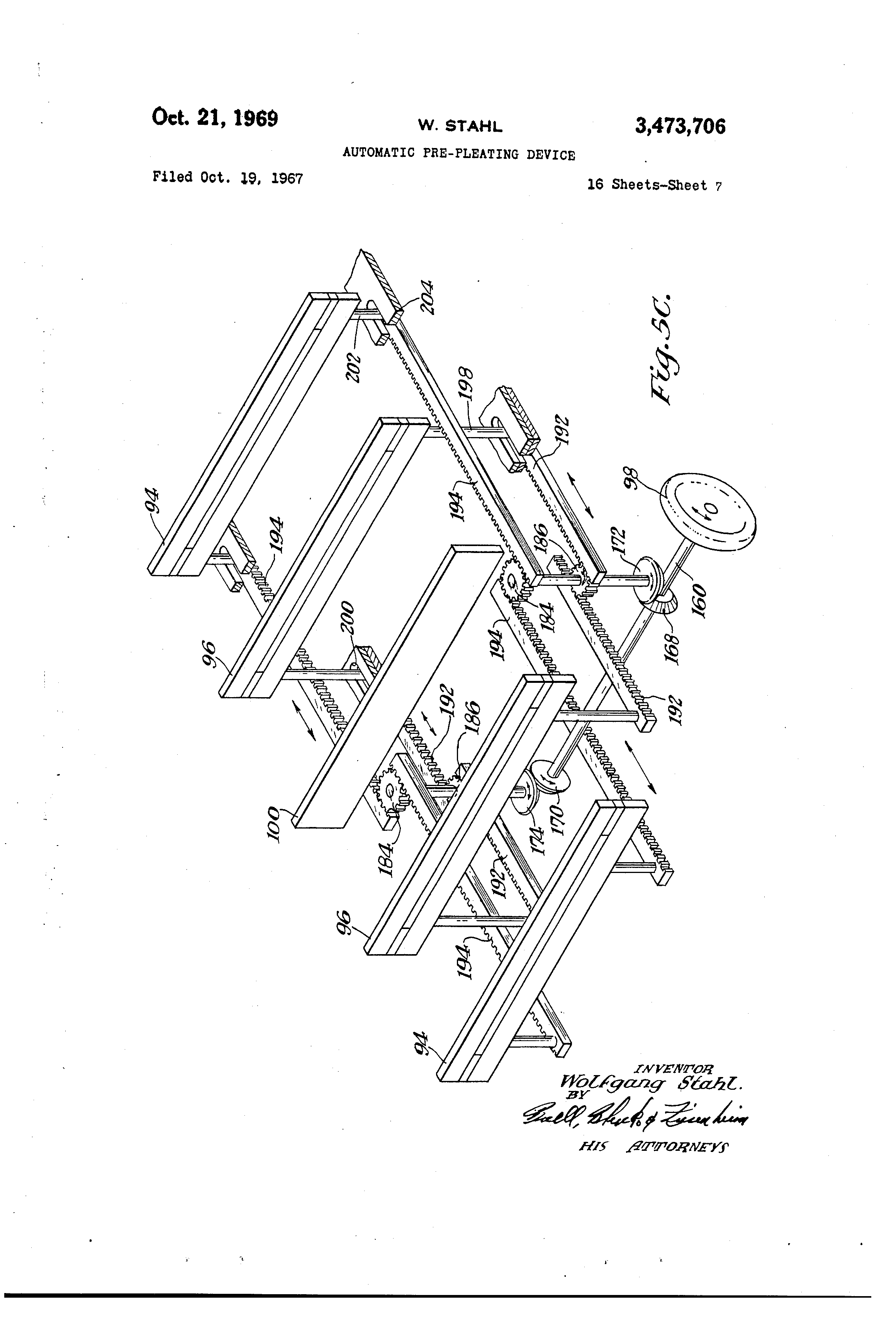 Patent Us3473706 Automatic Pre Pleating Device Google Patents 4g63 Engine Diagram Drawing