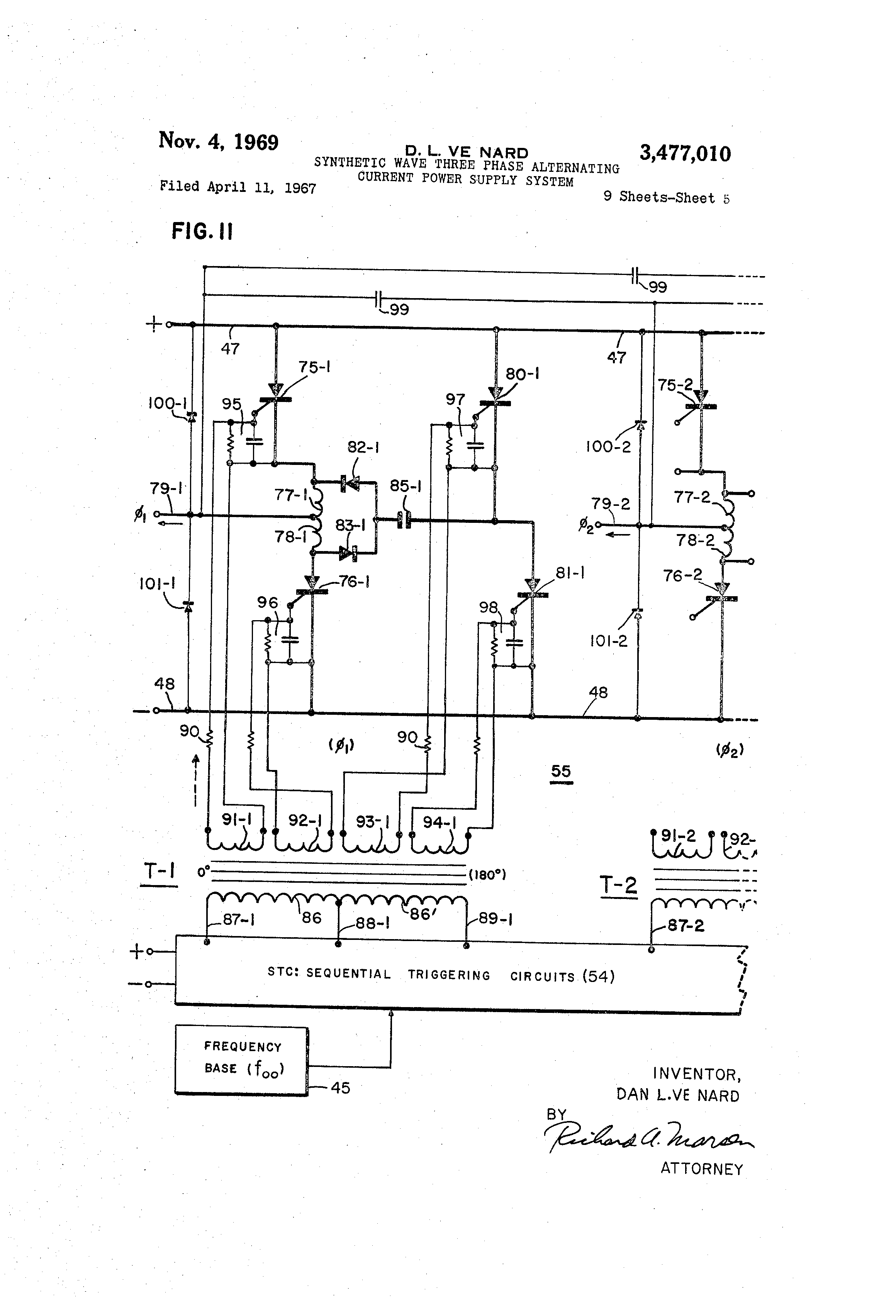 patent us3477010 - synthetic wave three phase alternating current power supply system