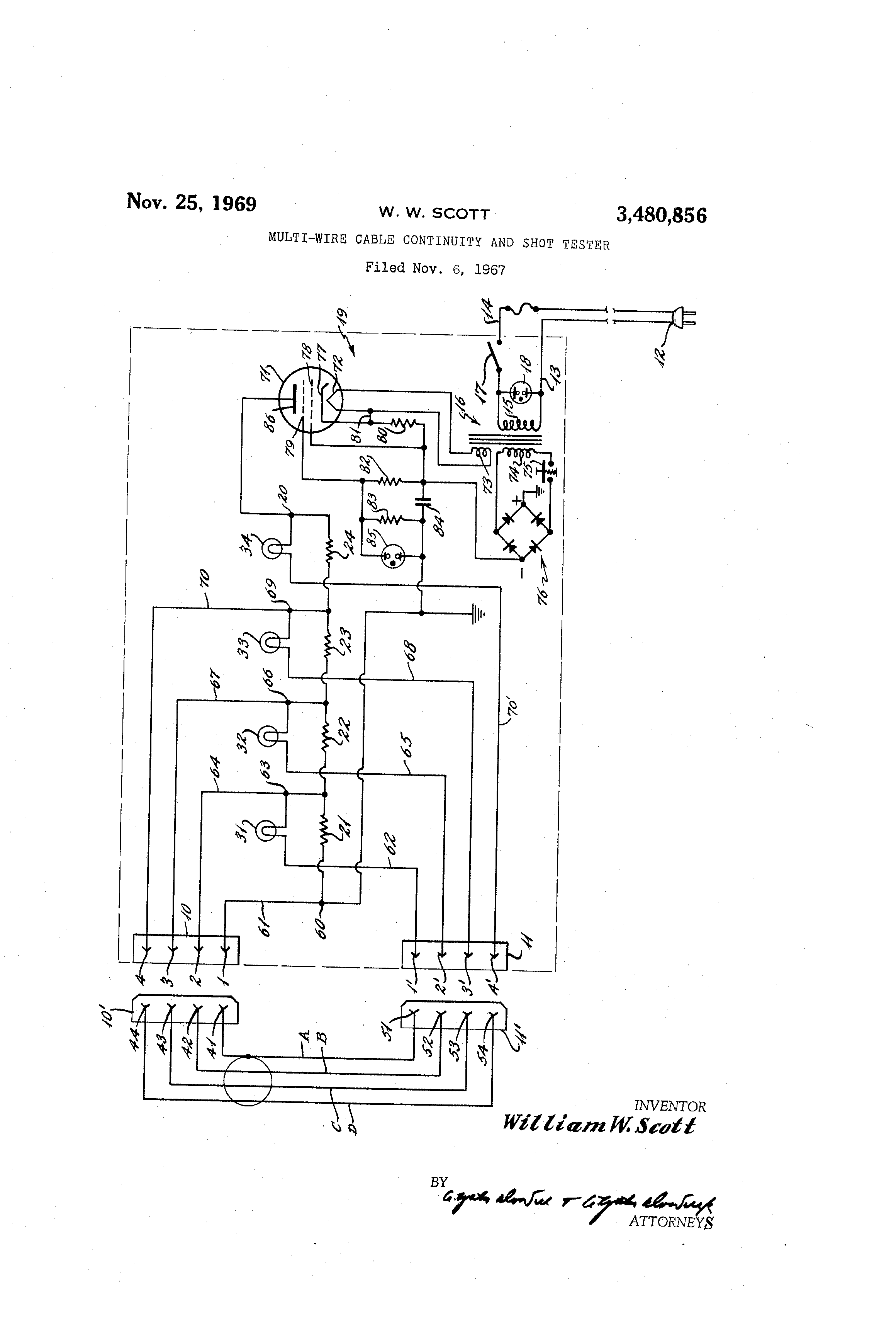 brevet us3480856 multi wire cable continuity and short tester  patent drawing