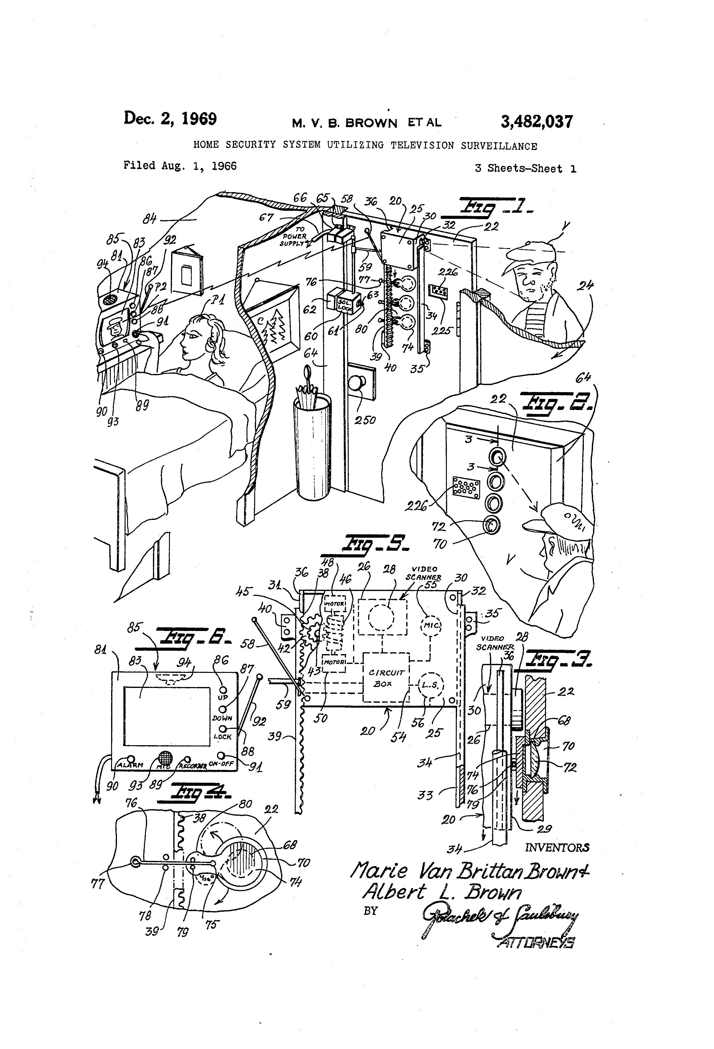 patent us3482037 - home security system utilizing television surveillance