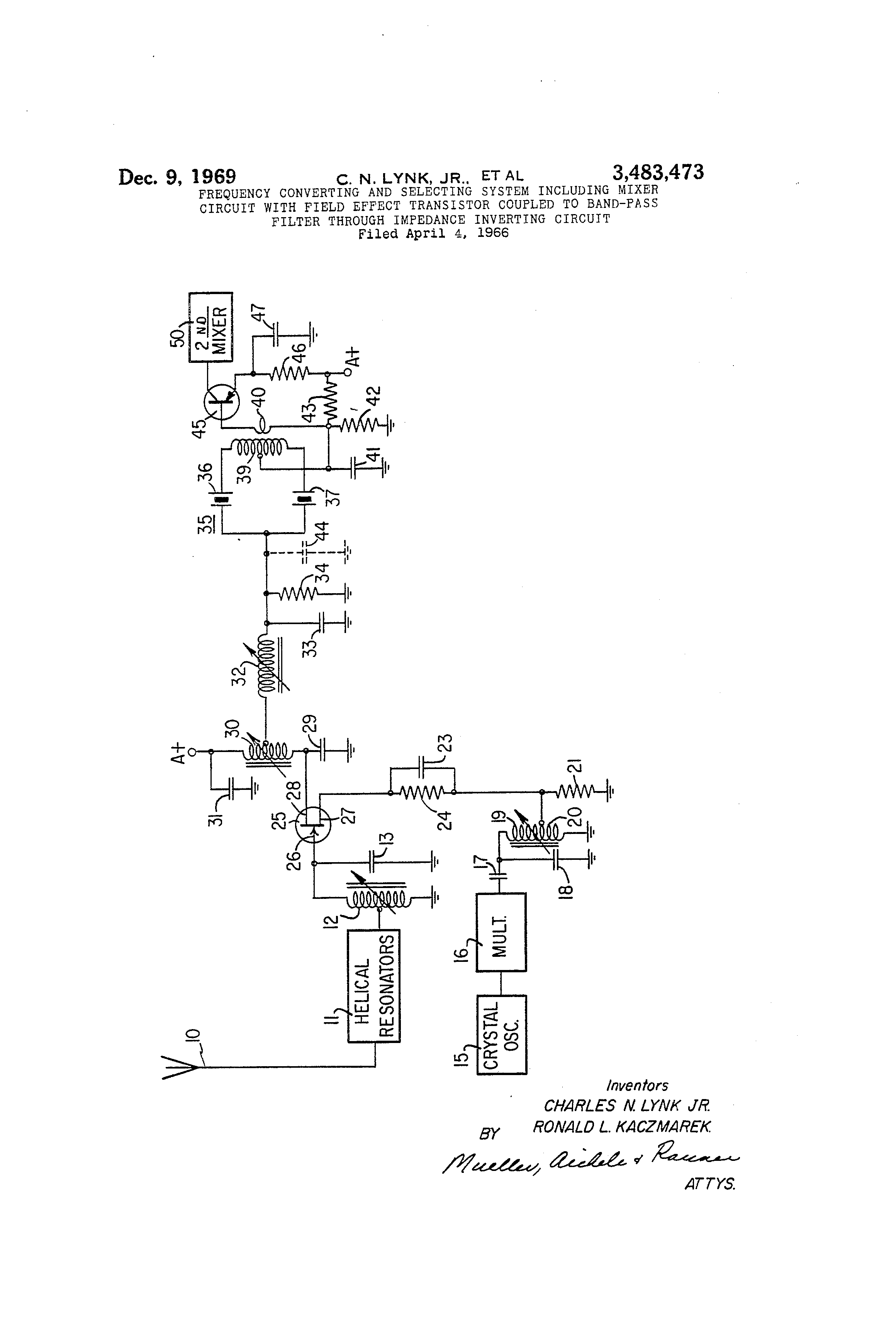 Patent Us3483473 Frequency Converting And Selecting System Circuits Gt Ac Power Filter Phone Line Homemade Circuit Drawing