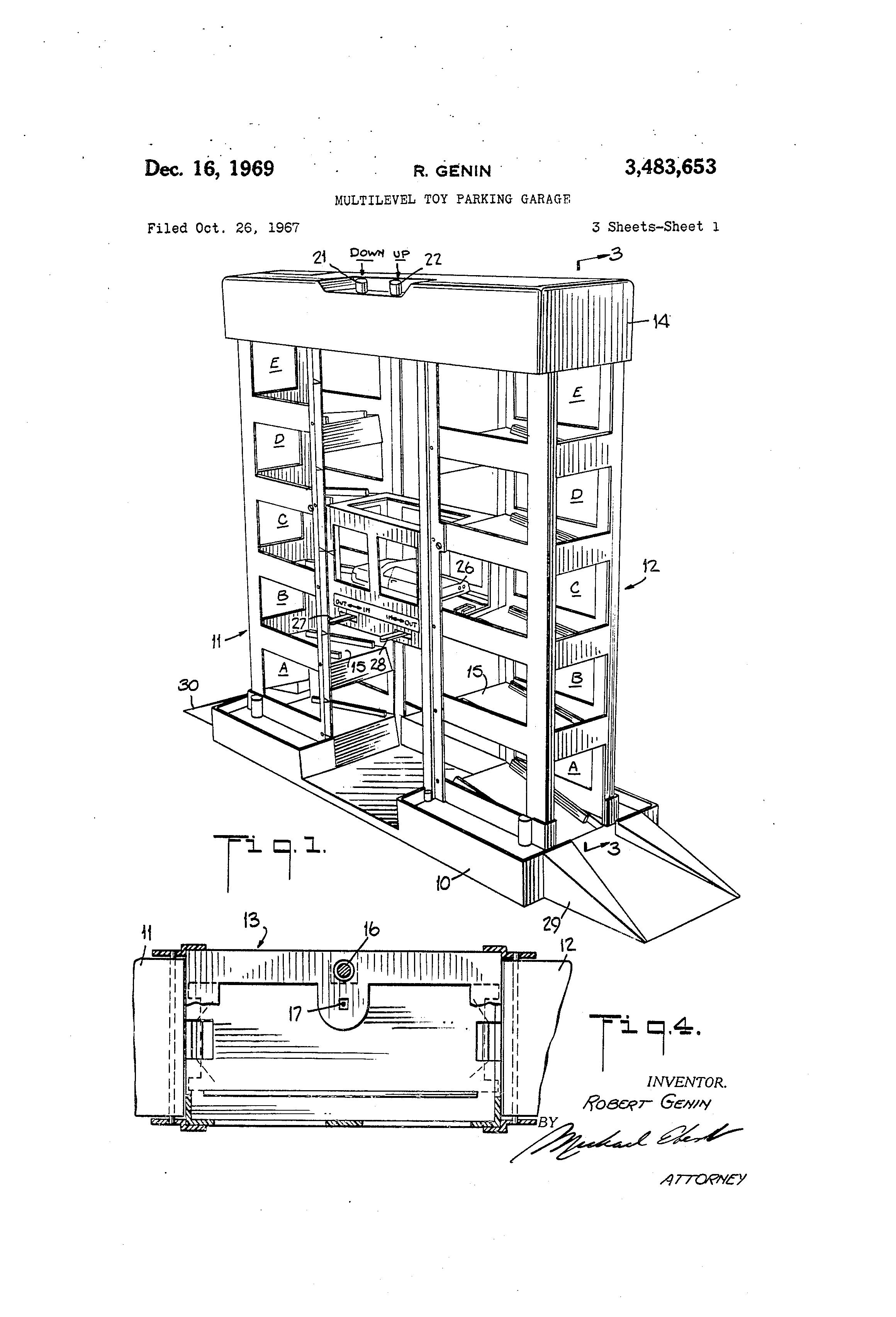 Patent Us3483653 Multilevel Toy Parking Garage Google Patents 1978 F150 Charging Wiring Diagram Drawing