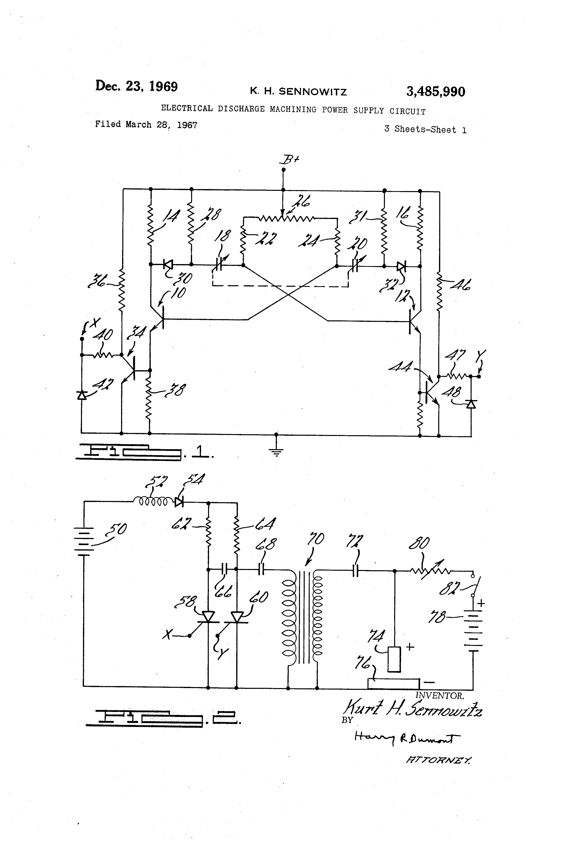 Patent Us3485990 Electrical Discharge Machining Power Supply Pulse Battery Charger Circuit Powersupplycircuit Diagram Drawing