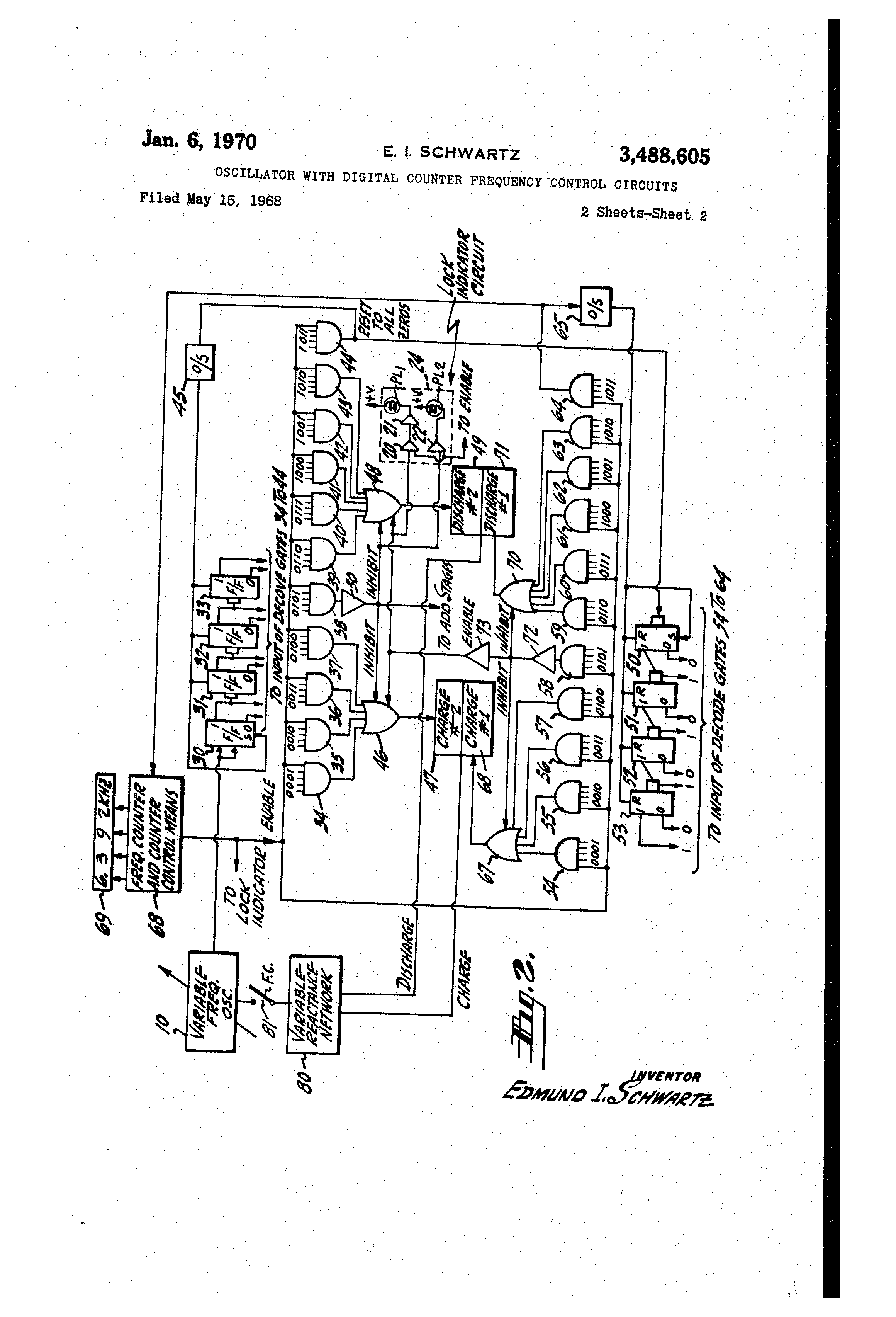 Patente Us3488605 Oscillator With Digital Counter Frequency If We Observe The Decade Circuit Diagram There Are Four Patent Drawing