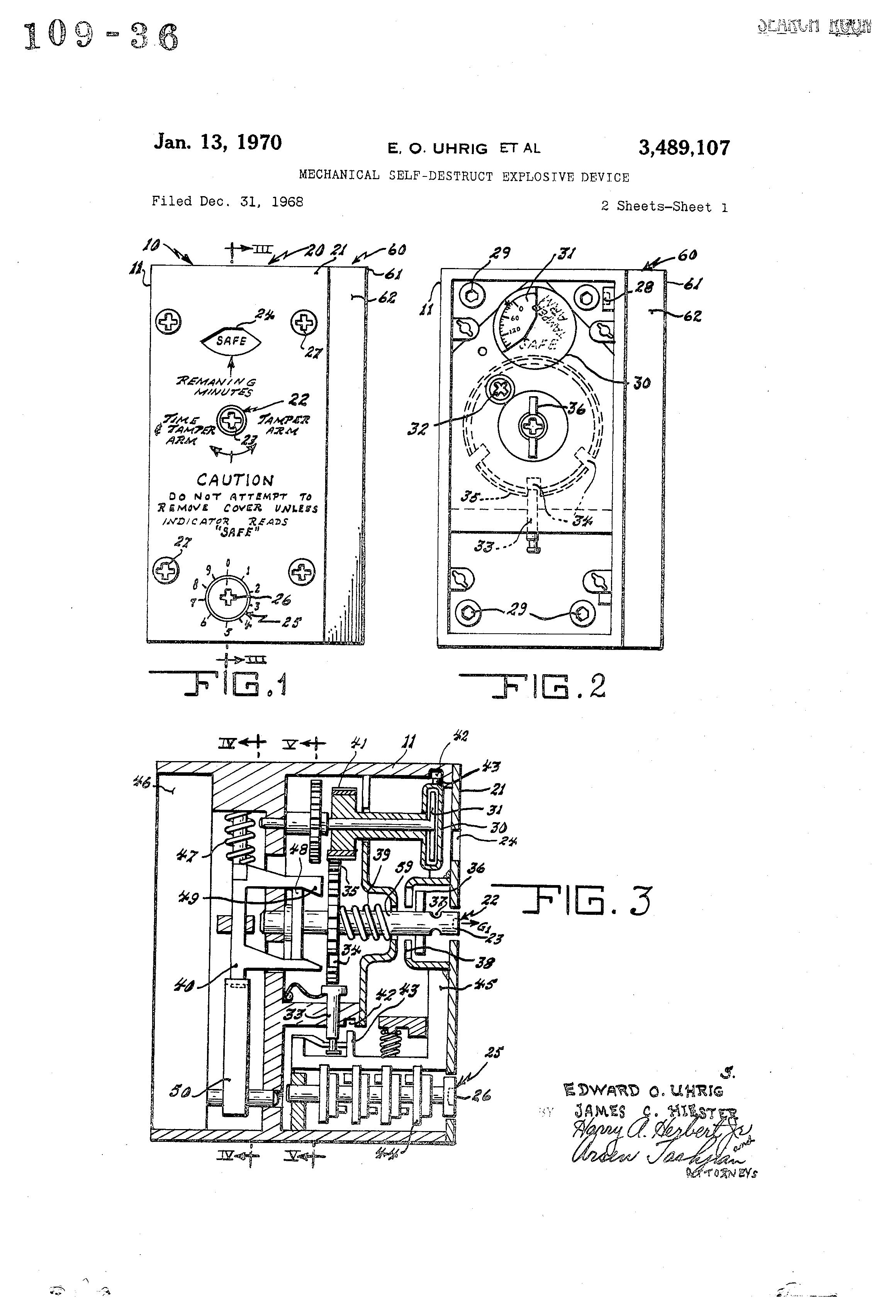 Patent Us3489107 Mechanical Self Destruct Explosive