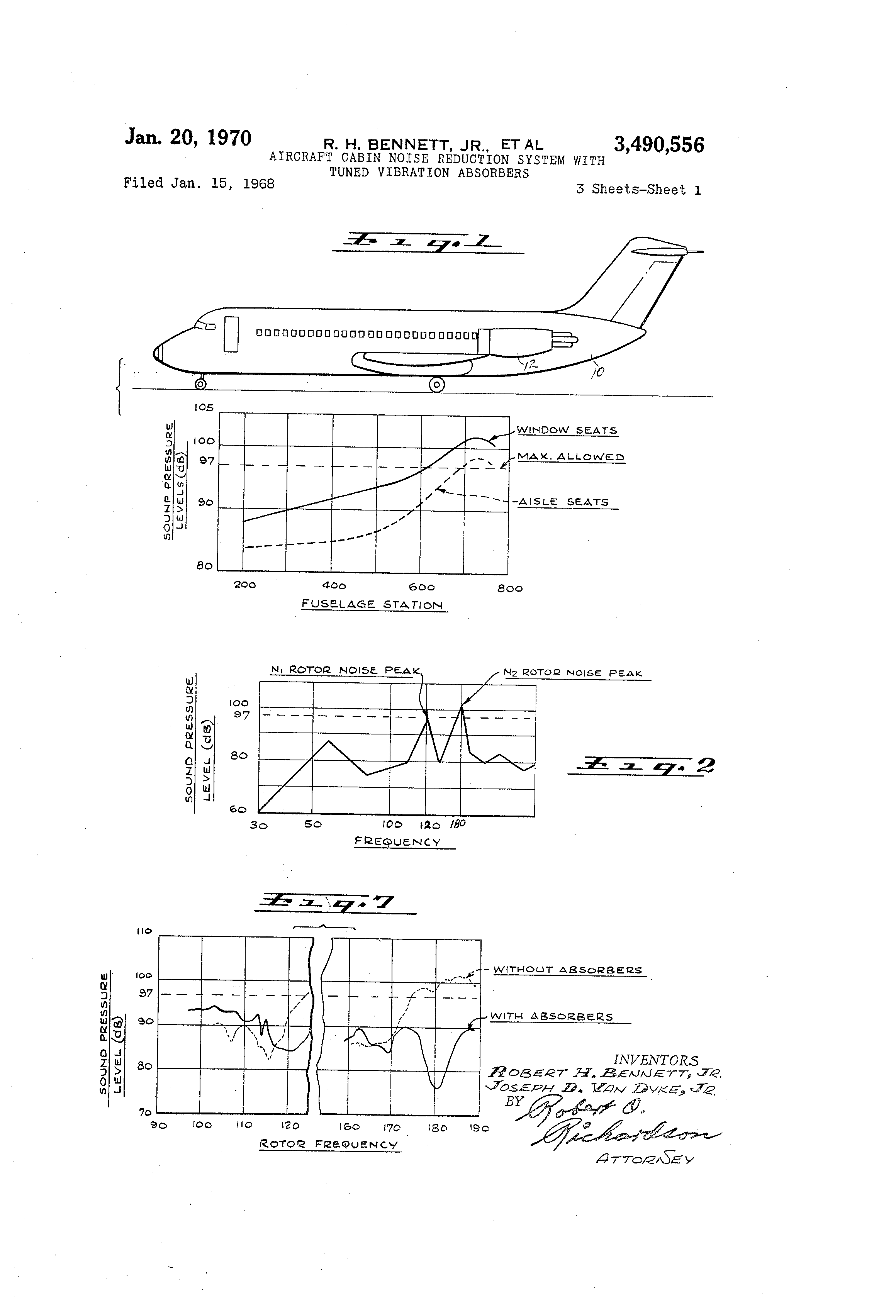 Patent us3490556 aircraft cabin noise reduction system Airplane cabin noise