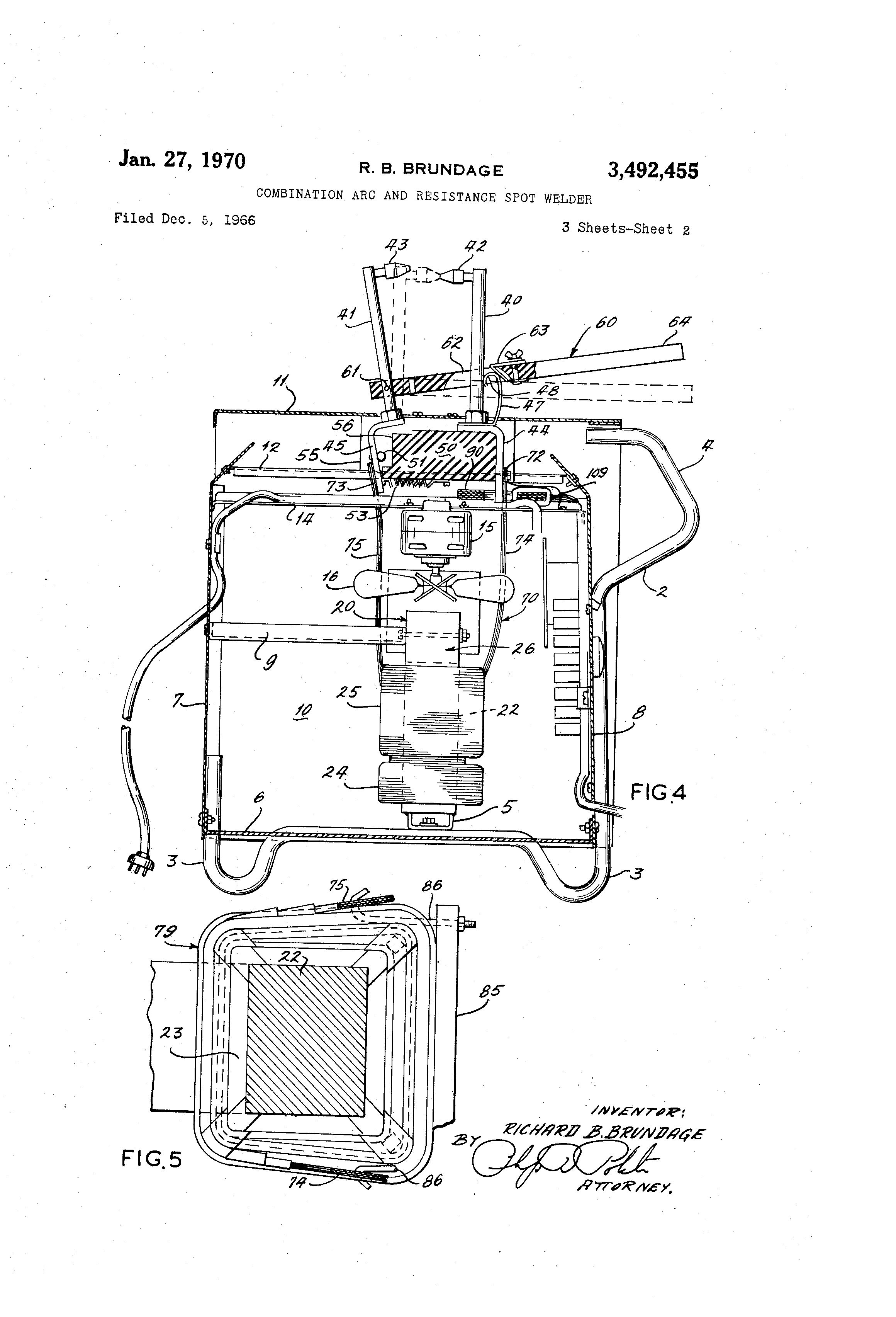 Patent Us3492455 Combination Arc And Resistance Spot Welder Welding Schematic Diagram Drawing