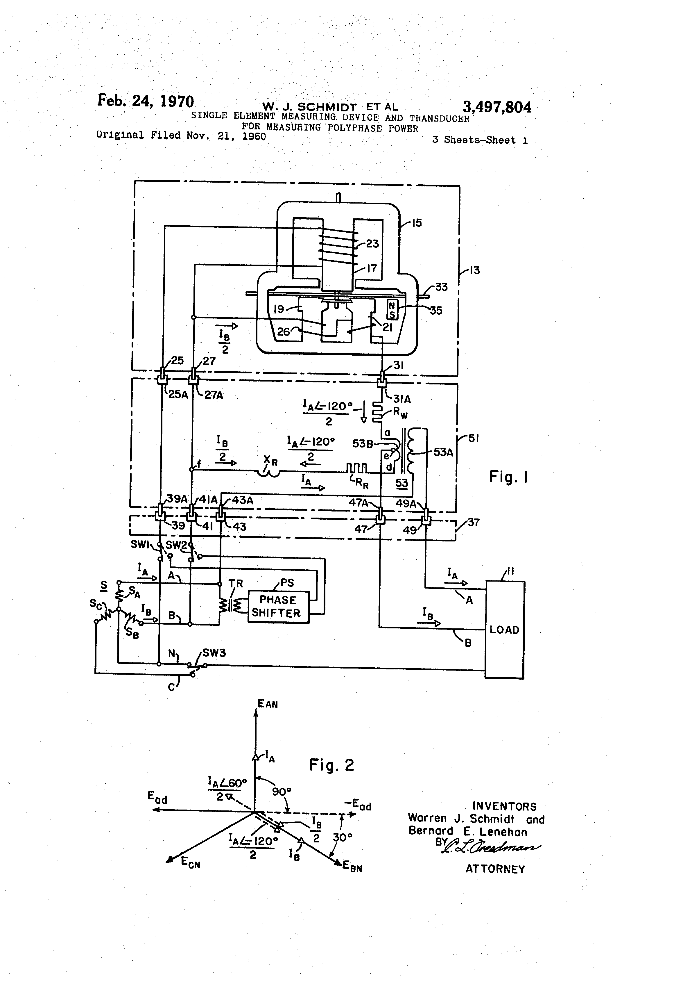 Patent Us3497804 Single Element Measuring Device And Transducer The Wiring Circuit Diagram With Singlephase Watthour Meter Drawing