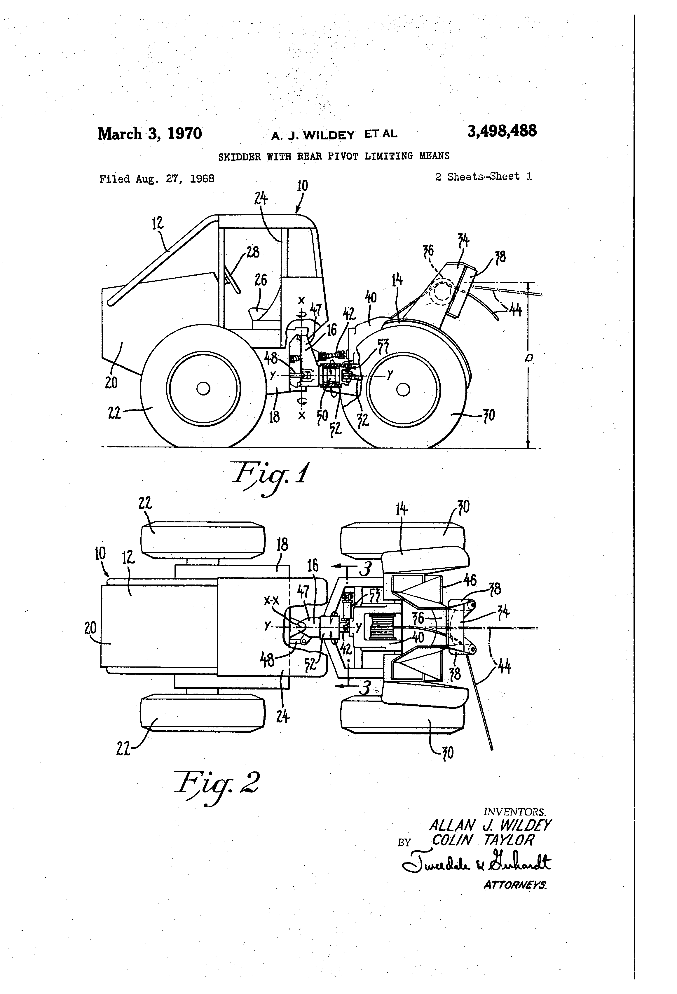 patente us3498488 - skidder with rear pivot limiting means