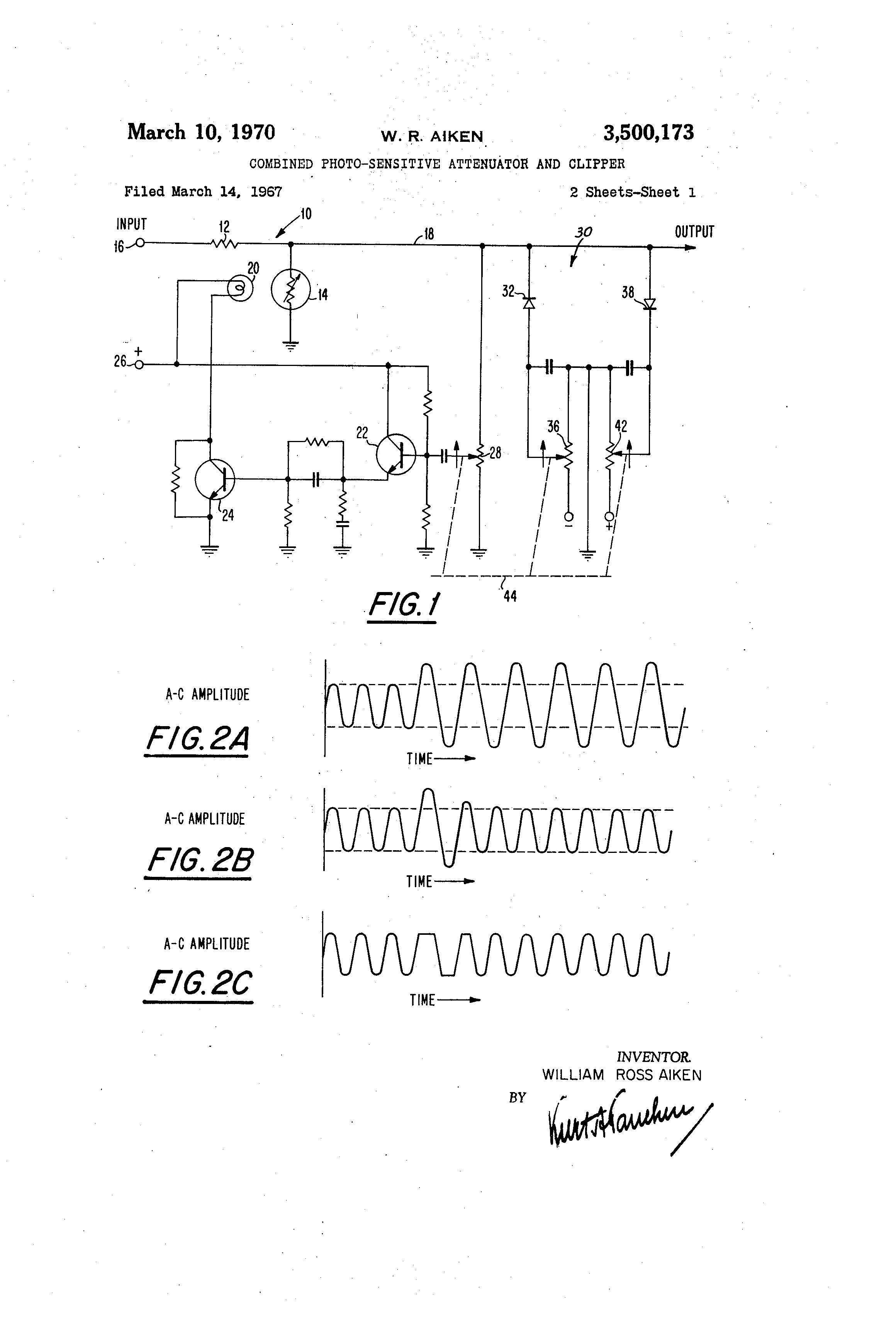 Patent Us3500173 Combined Photo Sensitive Attenuator And Clipper Clippers Limiters A Diode Clipping Circuit Can Be Used To Drawing