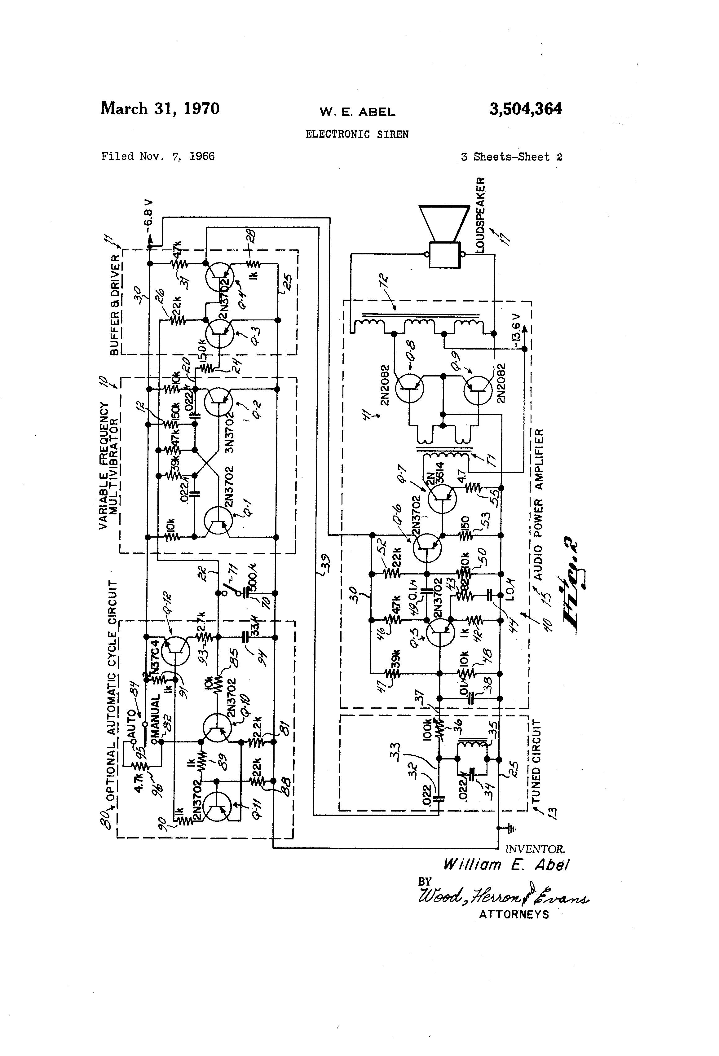 Patent Us3504364 Electronic Siren Google Patents 2 Transistor Drawing