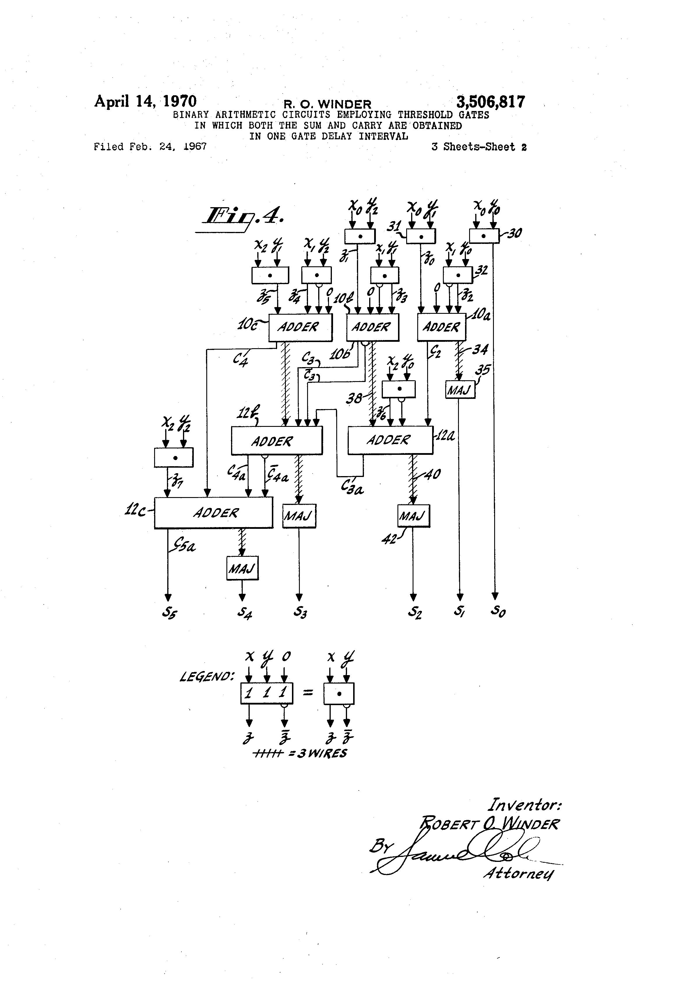 Patent Us3506817 Binary Arithmetic Circuits Employing Threshold Figure1 1 Bit Adder Drawing