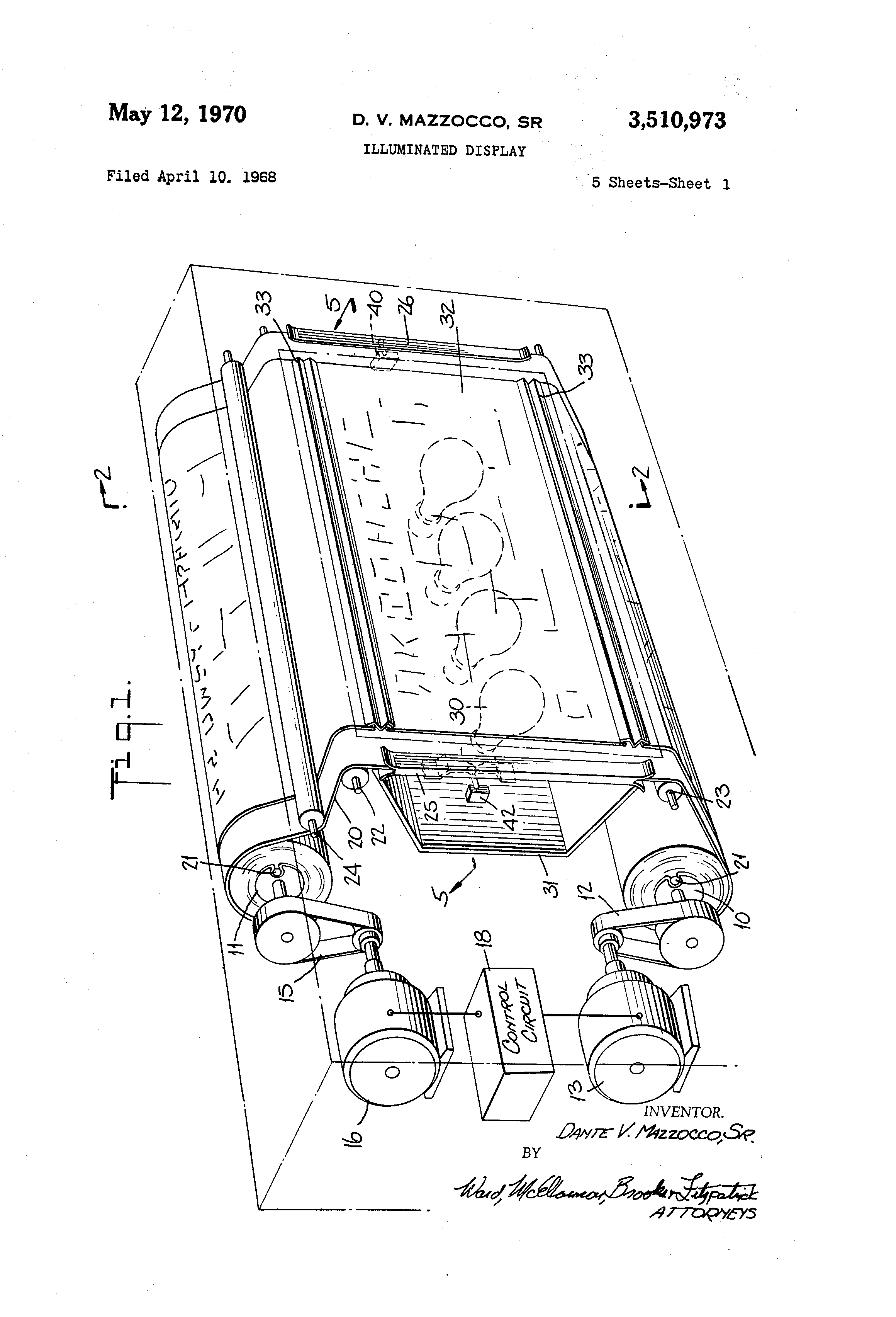Patent Us3510973 Illuminated Display Google Patents Worksheets Gt Other Writing Electrical Circuits Switches Drawing