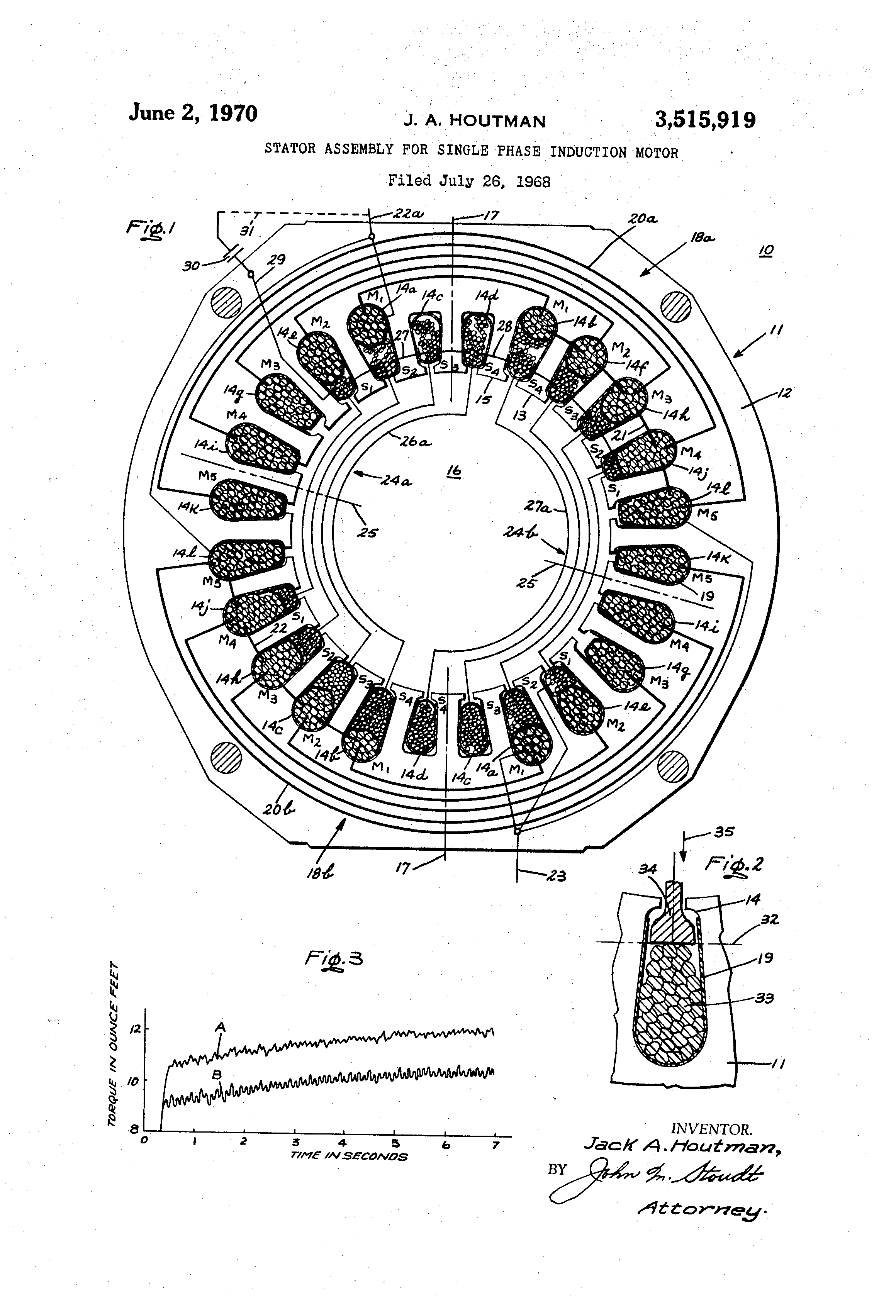 Patent us3515919 stator assembly for single phase for Three phase motor winding formula