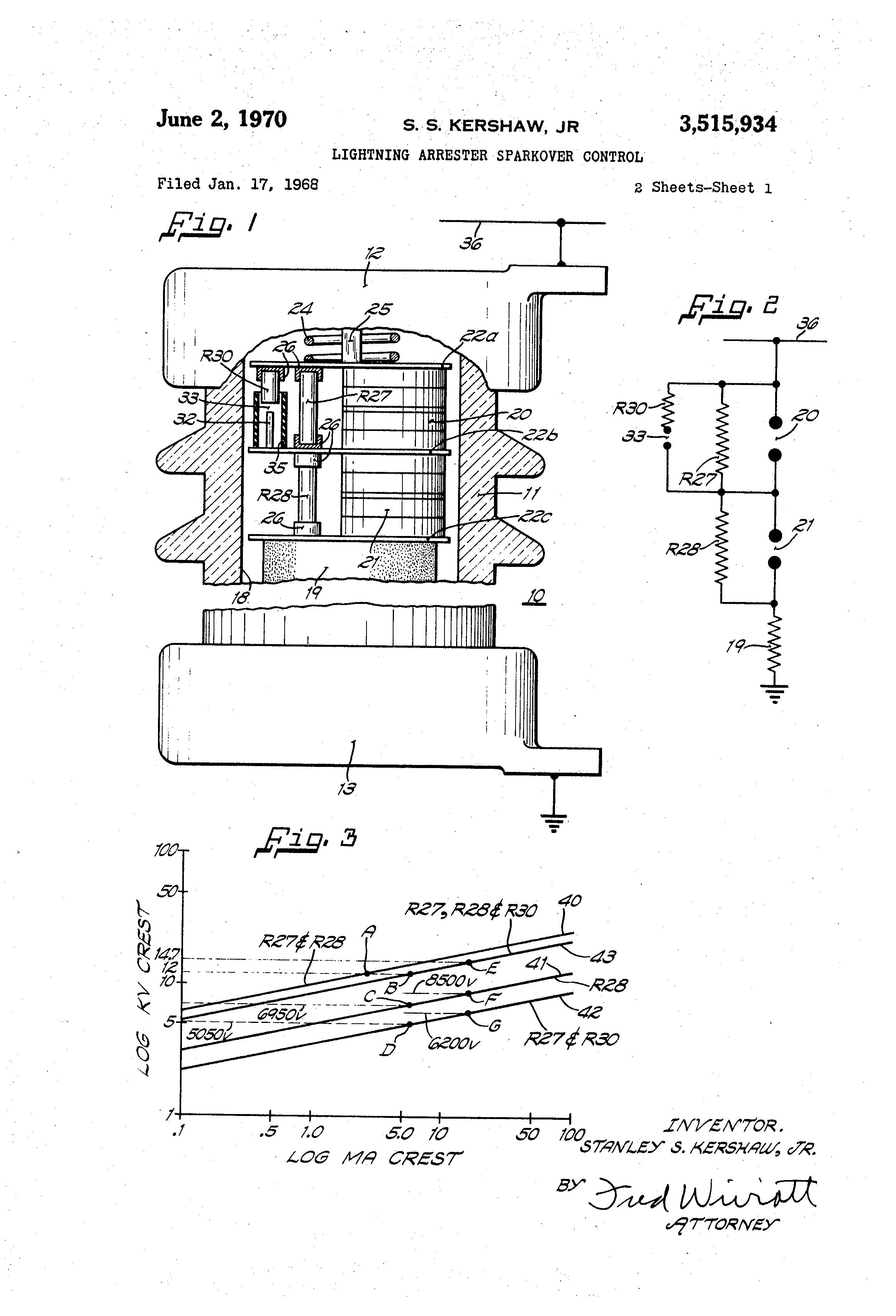 Patent Us3515934 Lightning Arrester Sparkover Control Google Patents Diagram Of Lighting Drawing