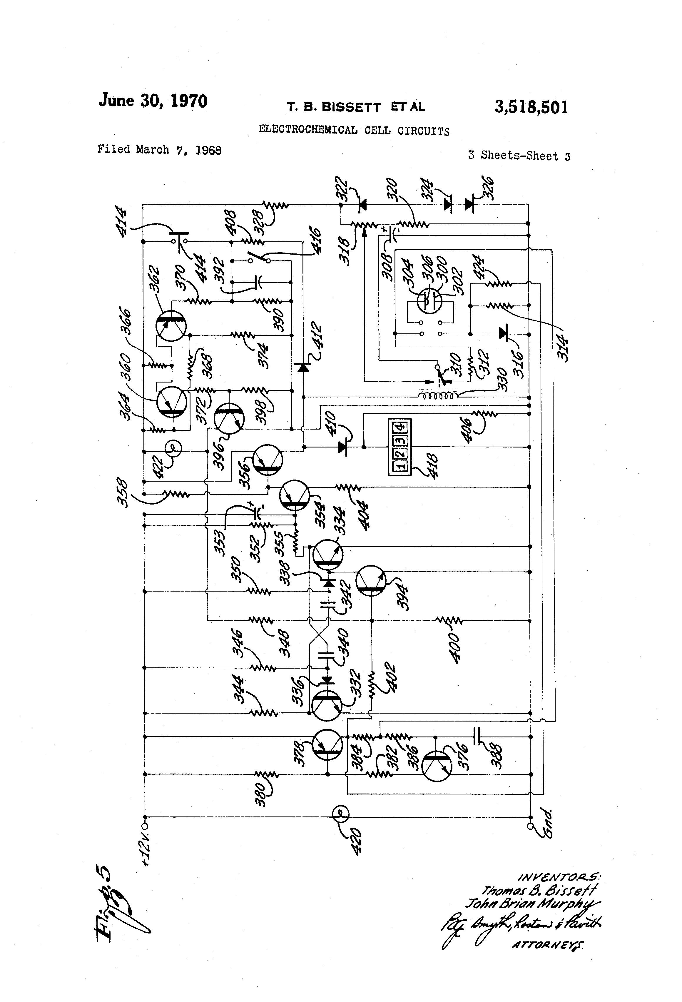 Patent Us3518501 Electrochemical Cell Circuits Google Patents Figure 1 Representative Circuit For A Capacitorcharging Drawing