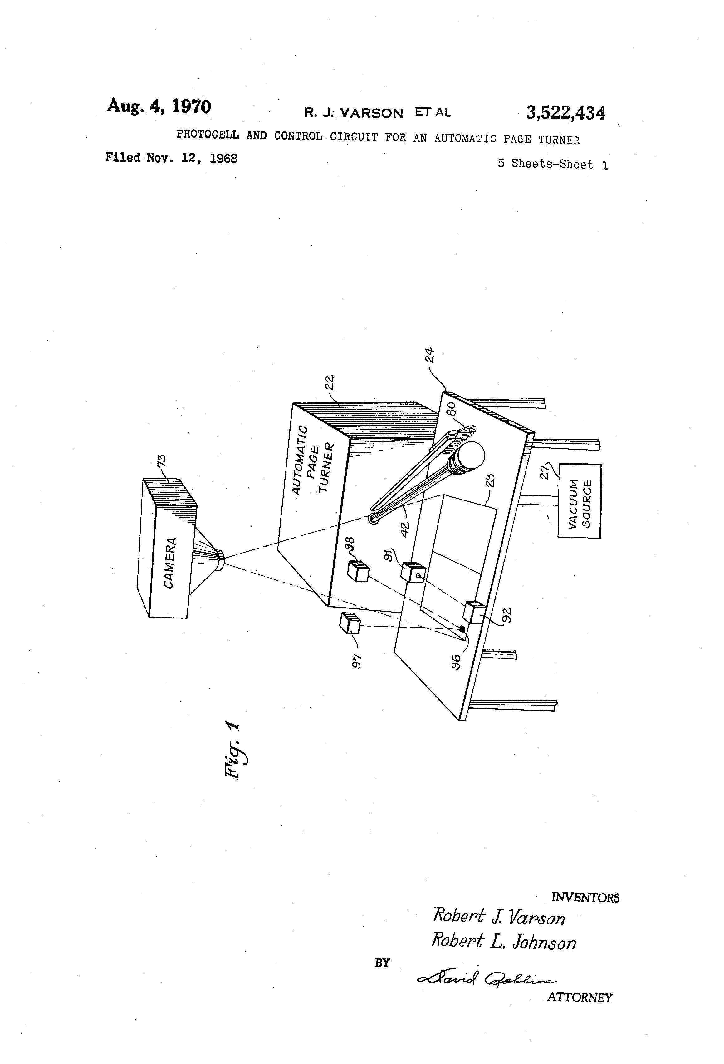 Brevet Us3522434 Photocell And Control Circuit For An Automatic Photocells Amplifiers Schematic Diagram Patent Drawing