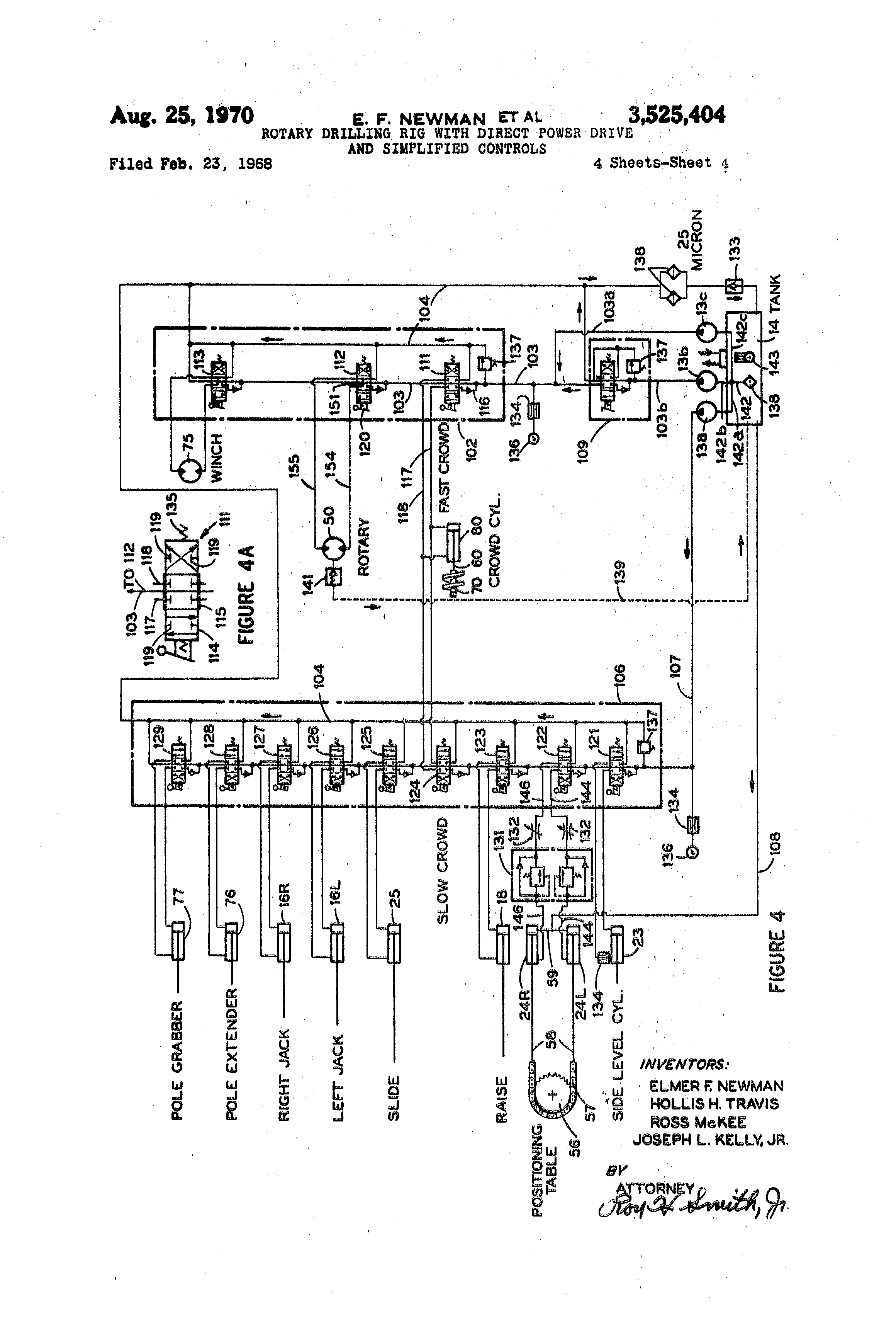 patent us3525404 - rotary drilling rig with direct power drive and simplified controls