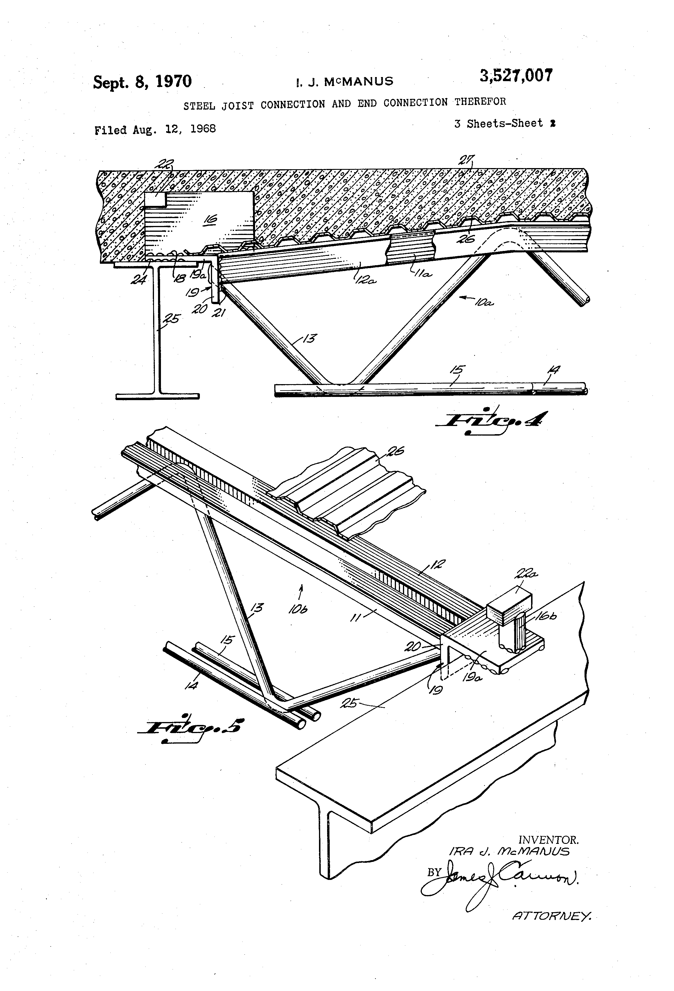 Patent Us3527007 Steel Joist Connection And End