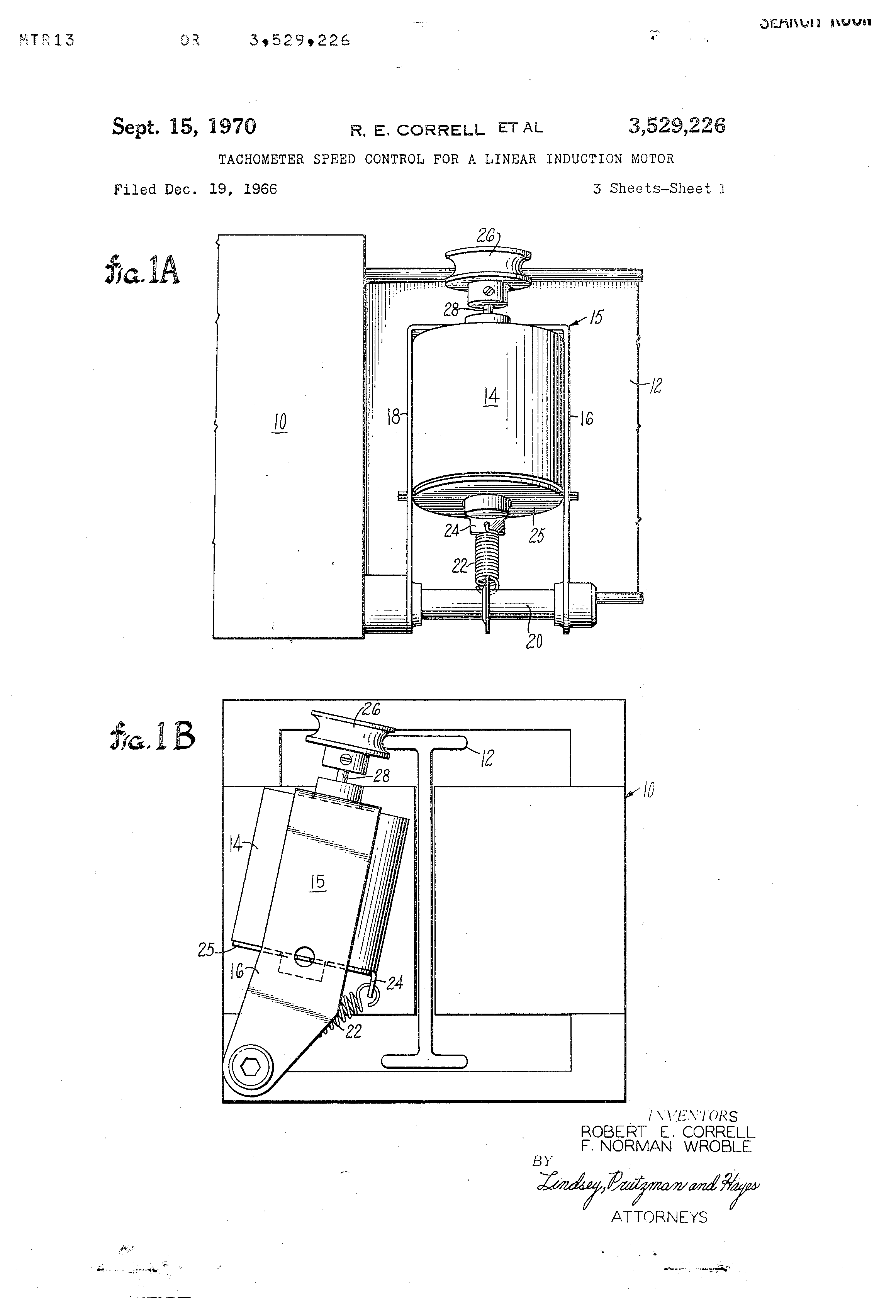 Patent Us3529226 Tachometer Speed Control For A Linear
