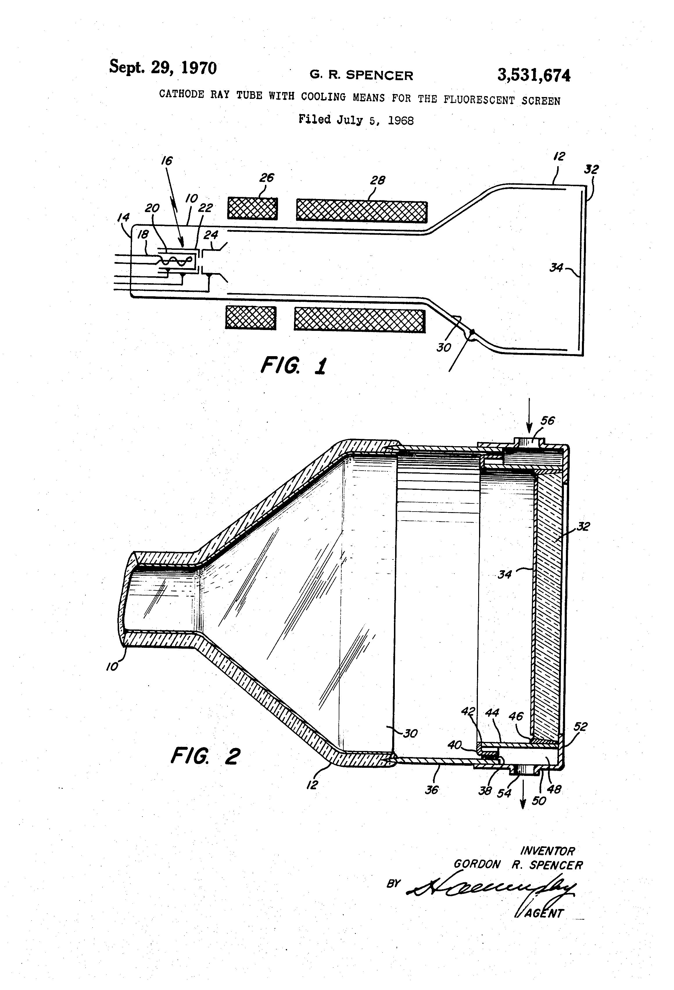 Patent Us3531674 Cathode Ray Tube With Cooling Means For The Diagram Drawing