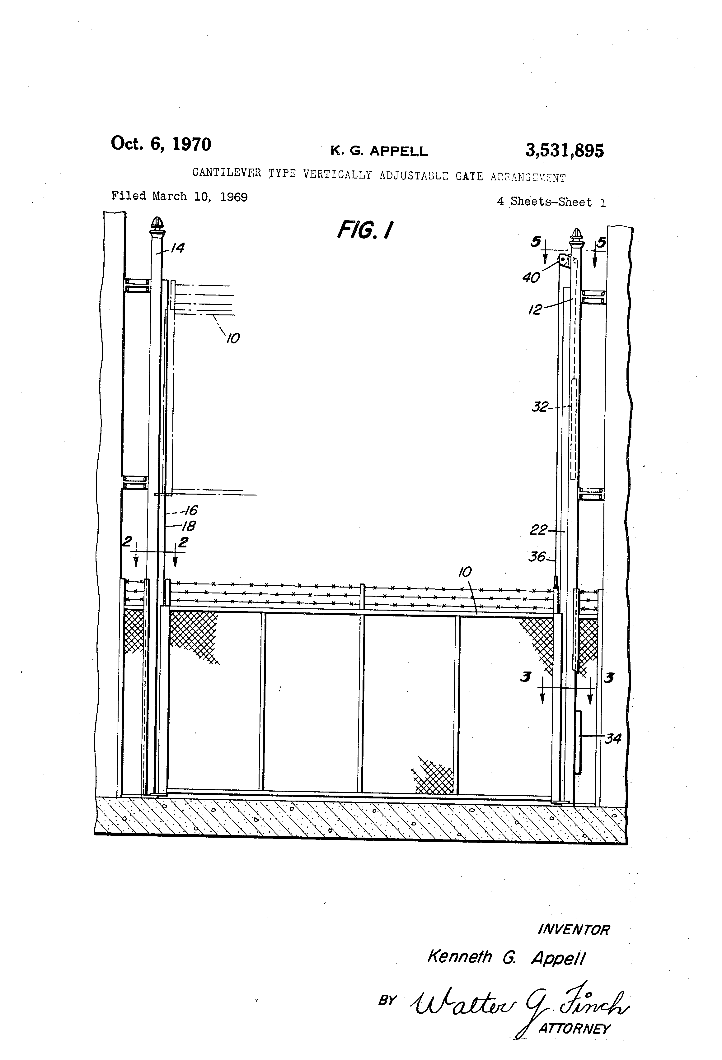 Patent Us3531895 Cantilever Type Vertically Adjustable Gate Addition Sliding On Electric Fence Gates With Diagram Drawing