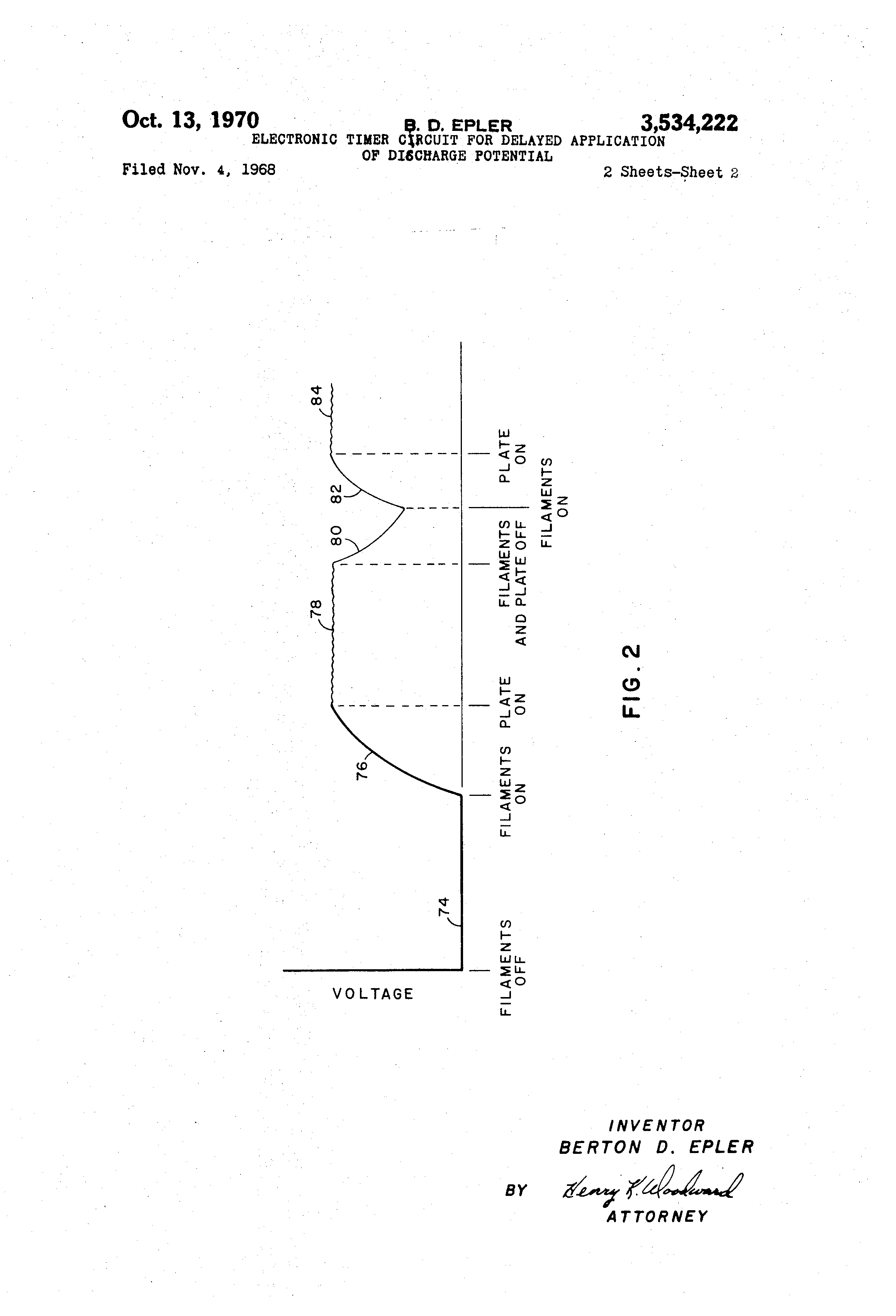Patent Us3534222 Electronic Timer Circuit For Delayed Application Off Delay Diagram Drawing