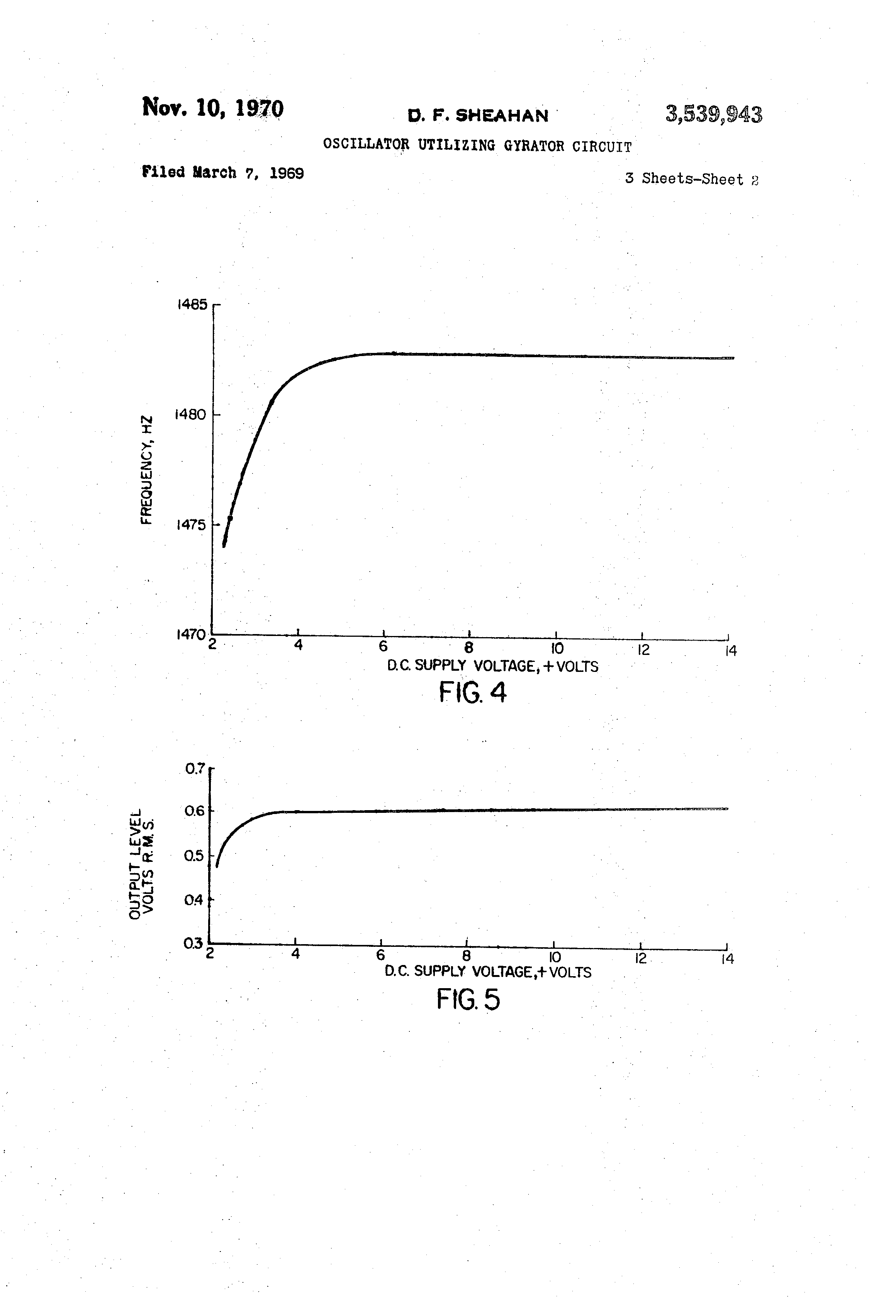 Brevet Us3539943 Oscillator Utilizing Gyrator Circuit Google Brevets Rc Bridge And Oscillatorcircuit Patent Drawing