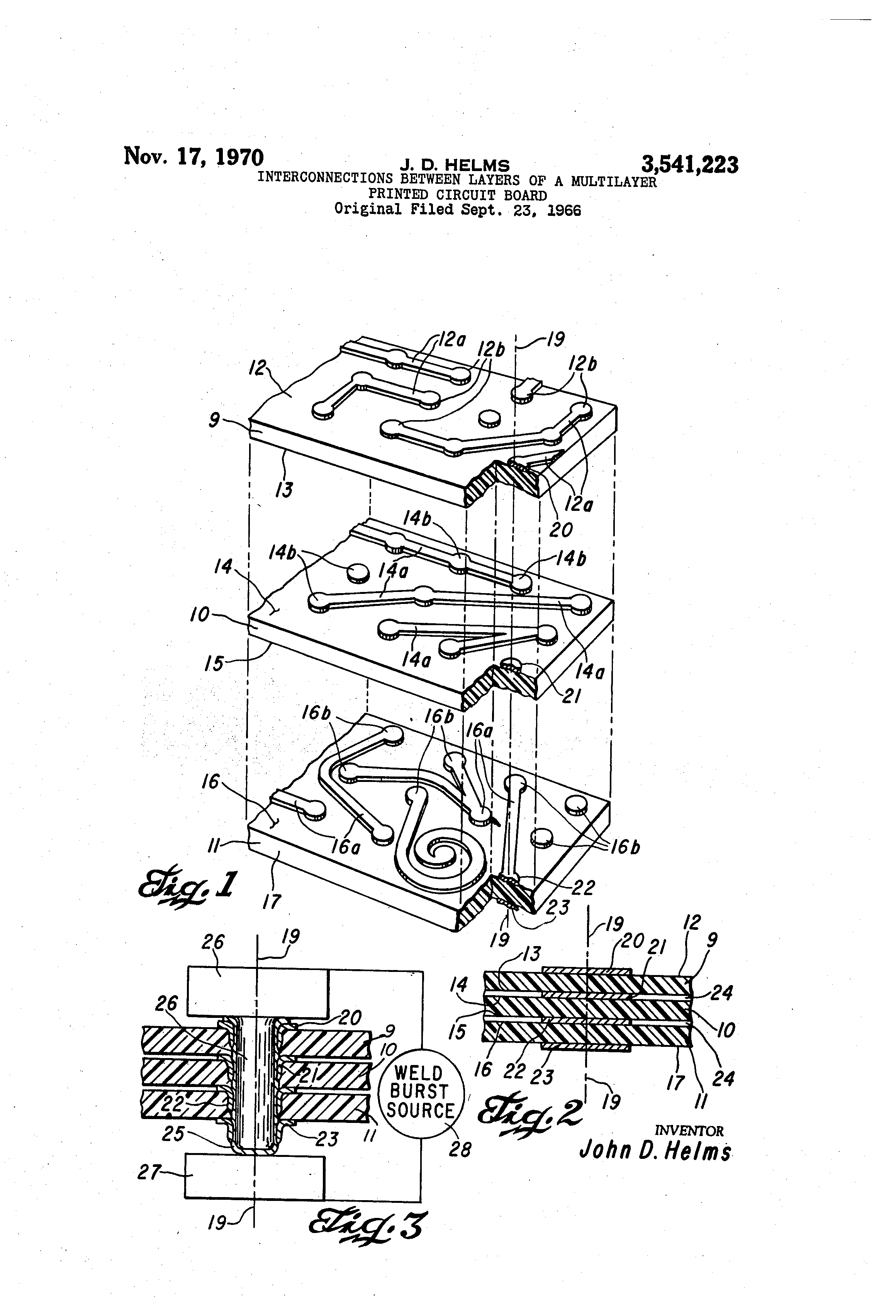 Patente Us3541223 Interconnections Between Layers Of A Multilayer Printed Circuit Board Fabrication Single Layer Pcb To High 26 Patent Drawing
