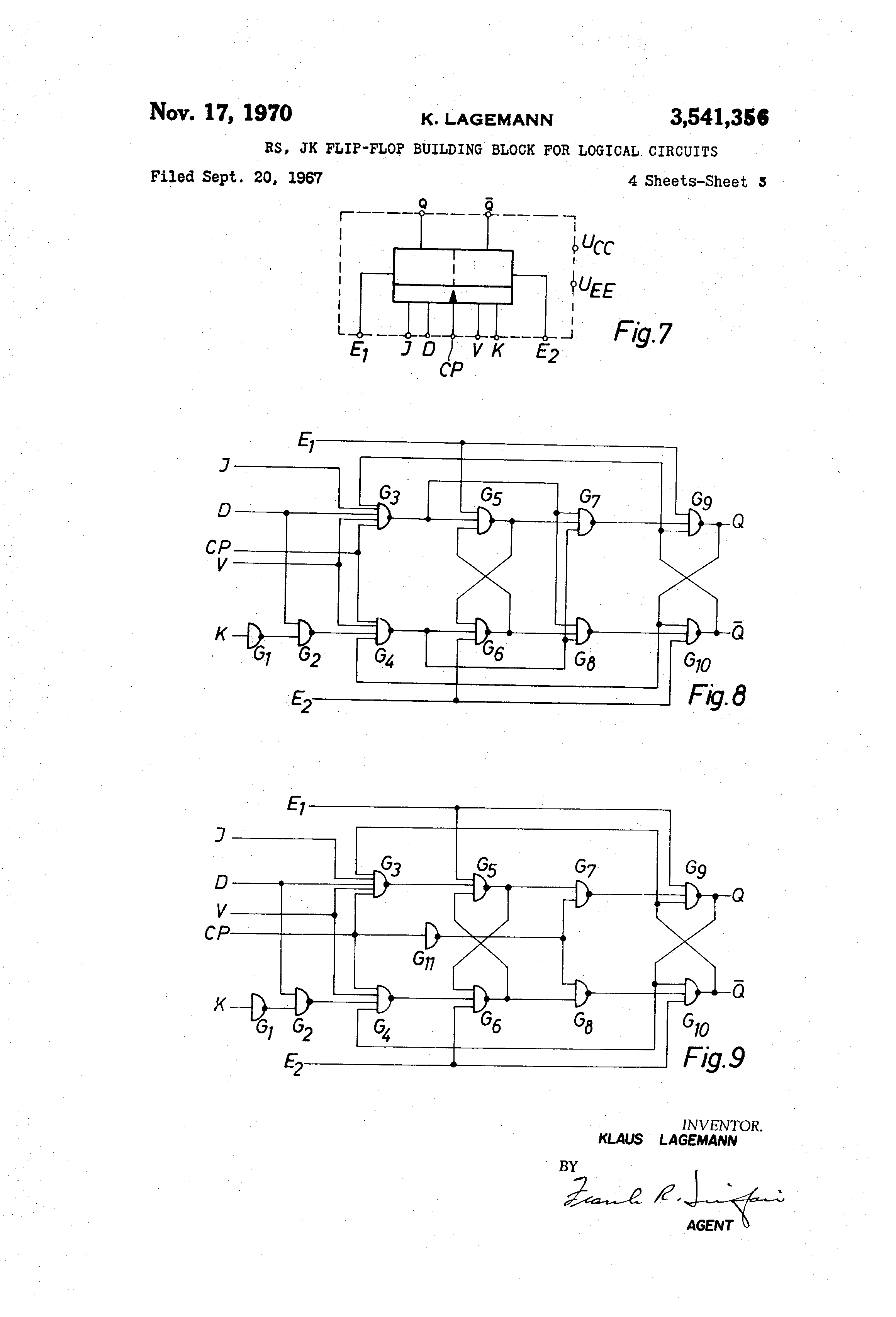 Patent Us3541356 Rsjk Flip Flop Building Block For Logical Circuit Of A Rs Built With D 2 The Jk Circuits Us 3541356 Abstract Available In Images4