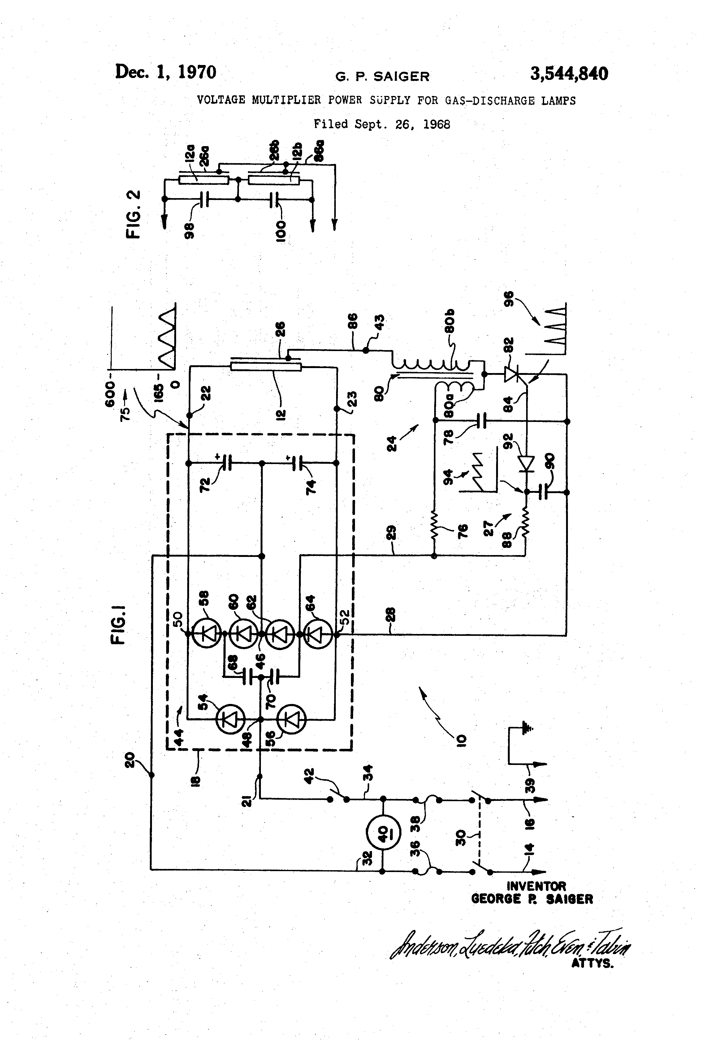Brevet Us3544840 Voltage Multiplier Power Supply For Gas Discharge With Diodes And Capacitors Patent Drawing