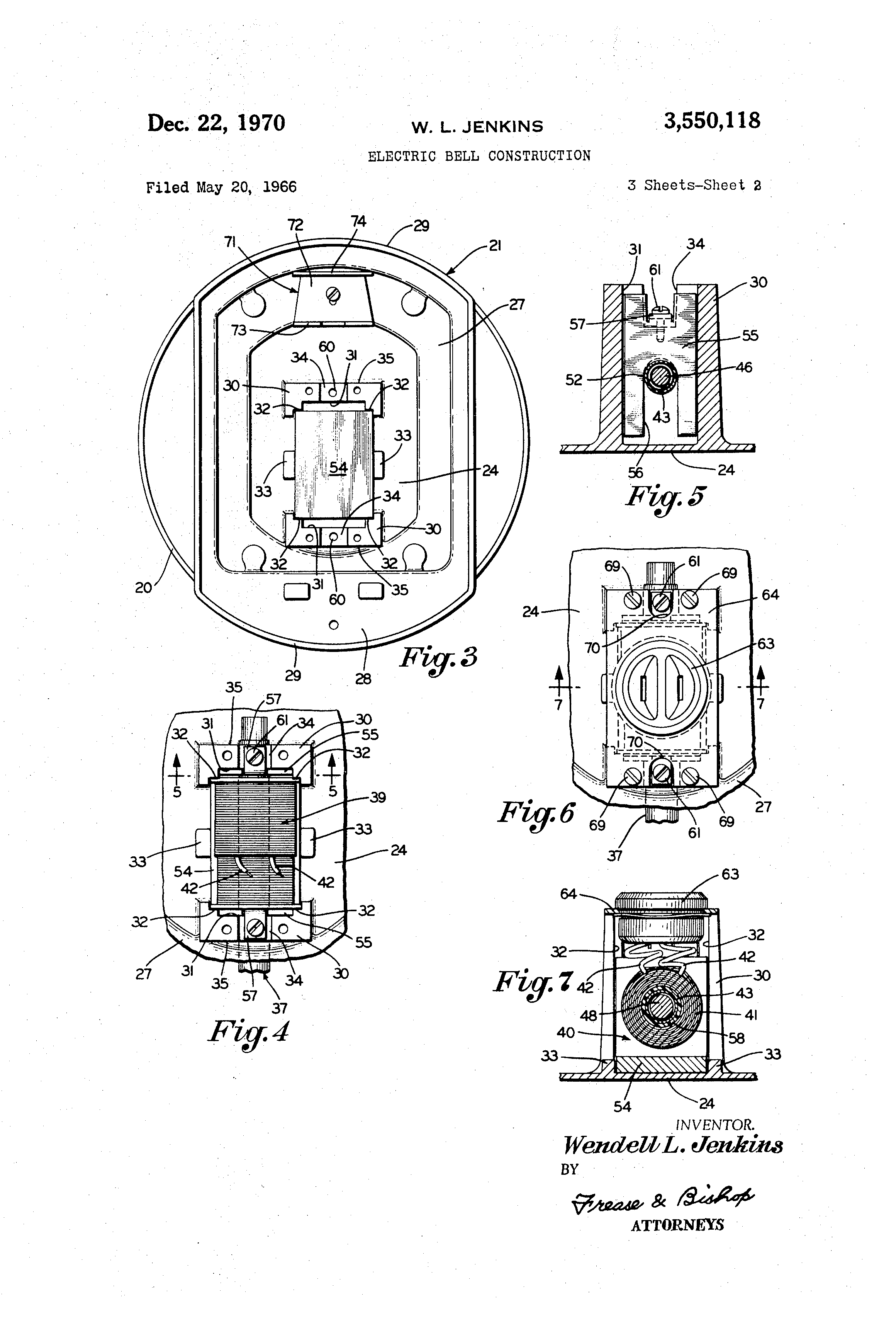 patent us3550118 - electric bell construction