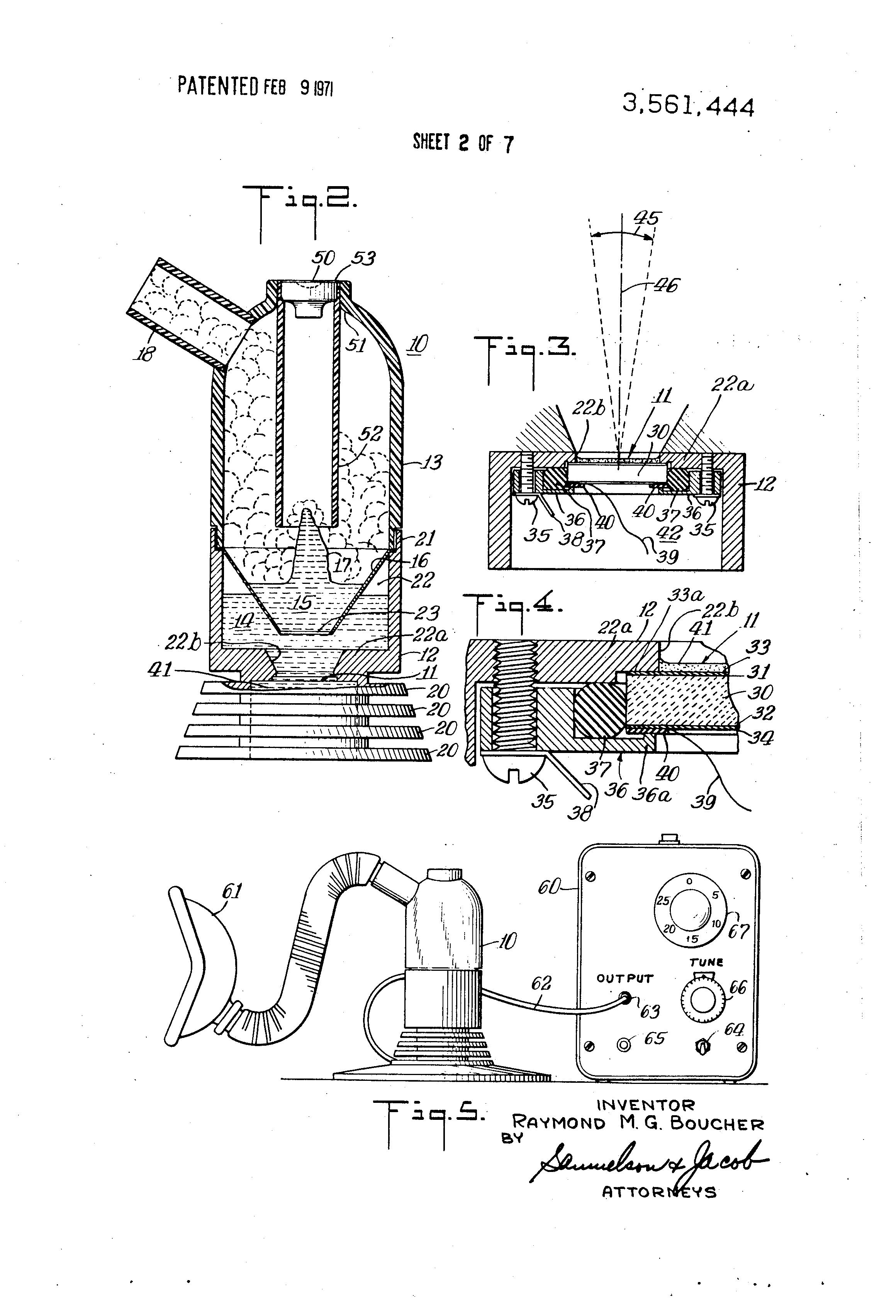 patent us3561444 - ultrasonic drug nebulizer